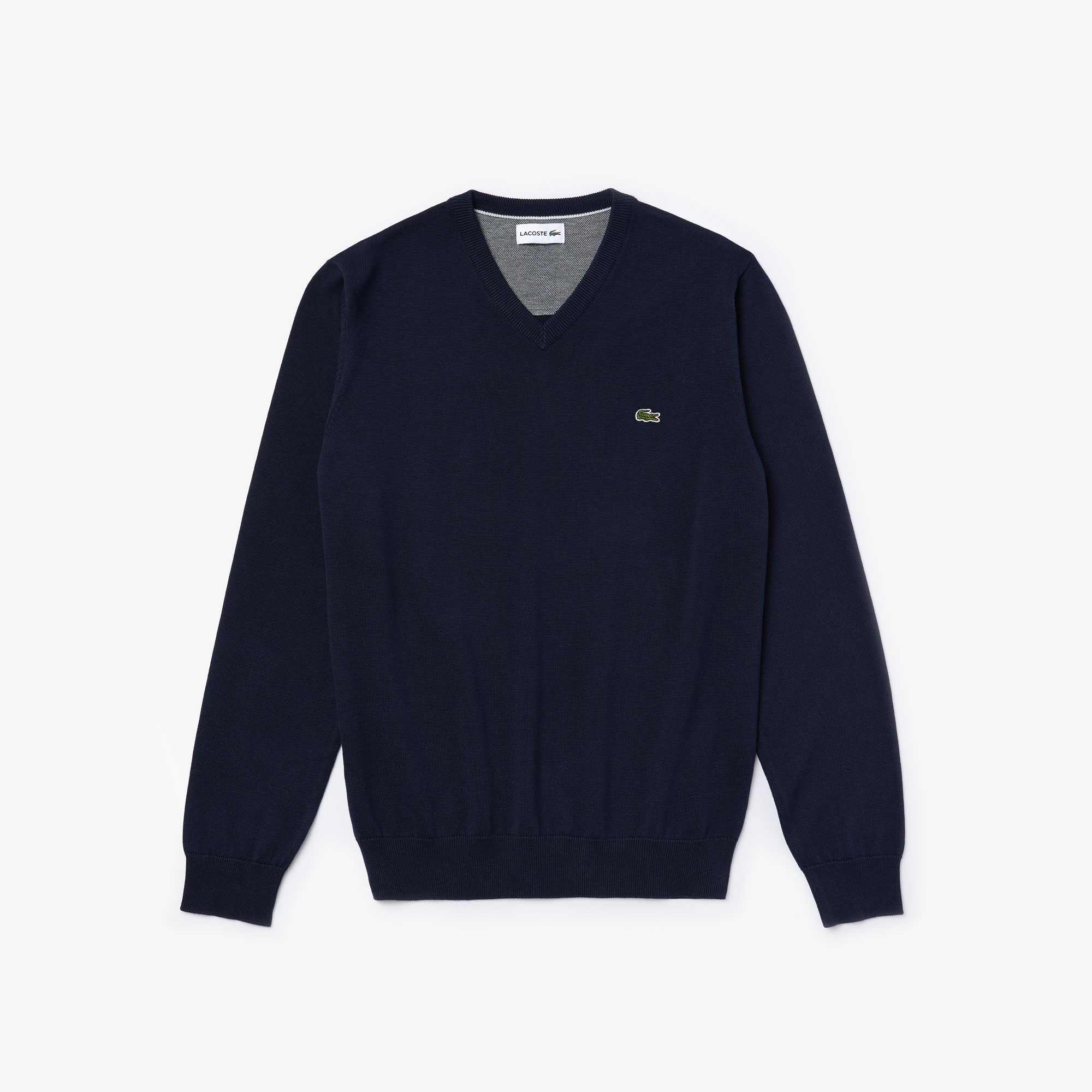 Pullover con collo a V in jersey di cotone tinta unita con dettaglio in piqué caviale