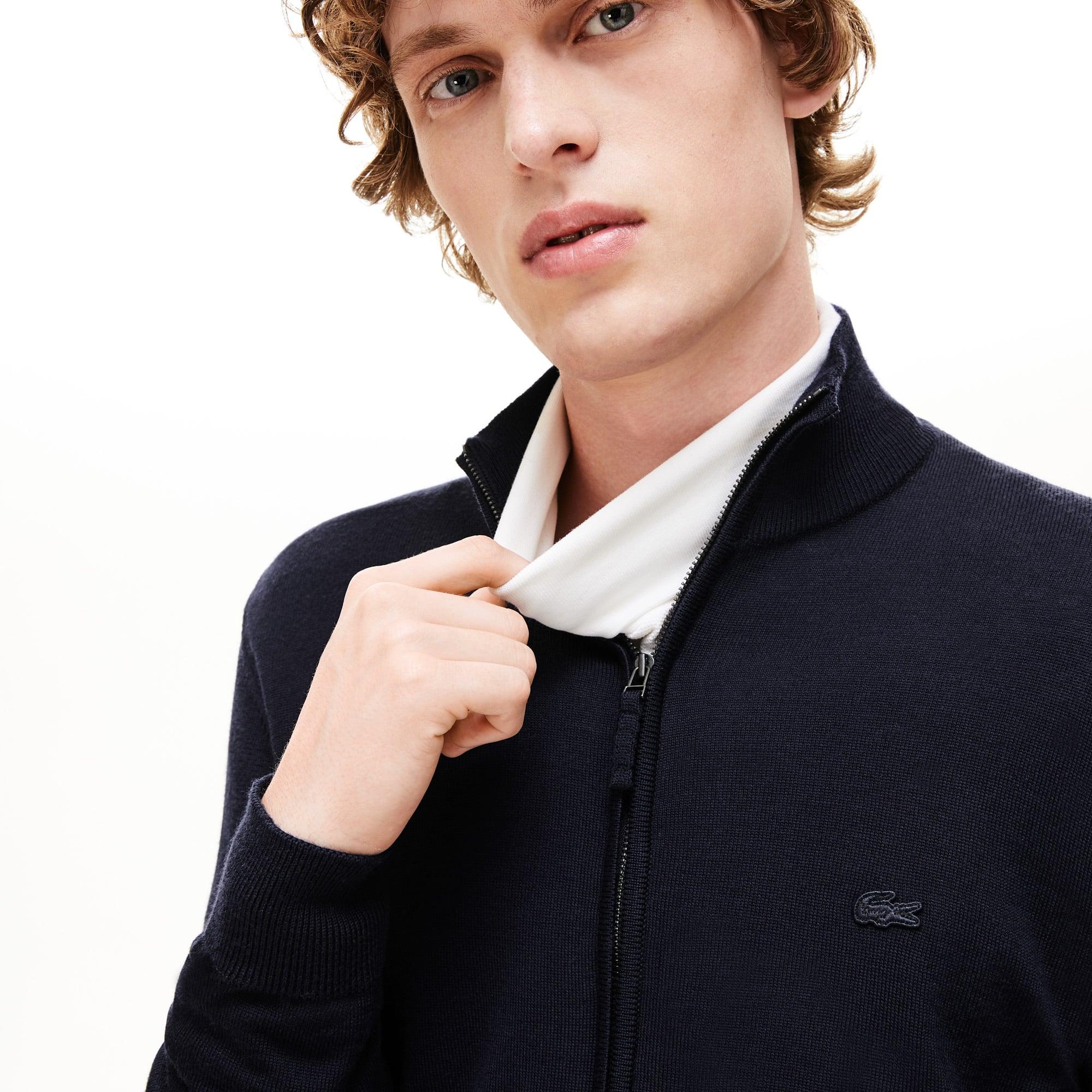 Pullover con zip e collo a listino in jersey di lana tinta unita