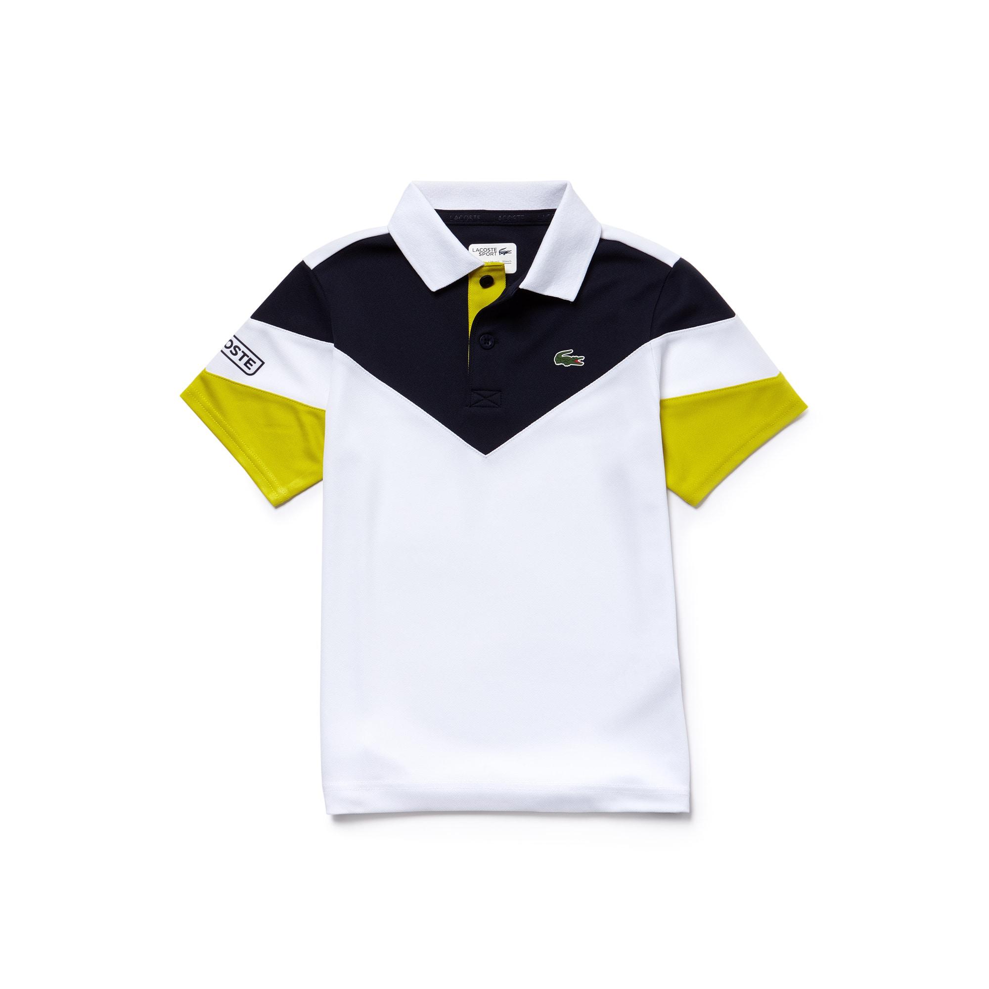 Polo Bambino Tennis Lacoste SPORT in piqué tecnico color block