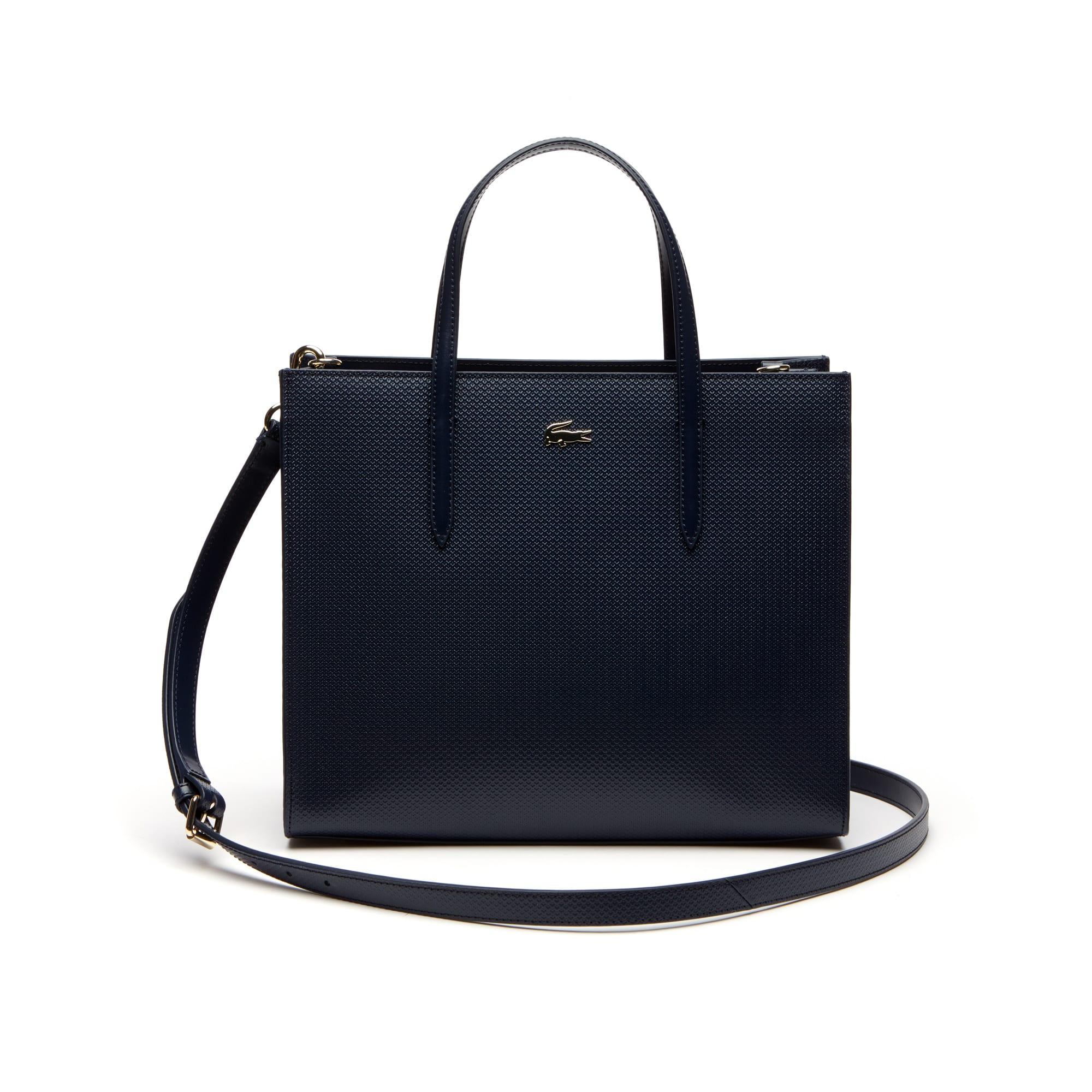 Shopping bag con cerniera ampia in pelle piqué con doppia modalità di utilizzo Chantaco da donna