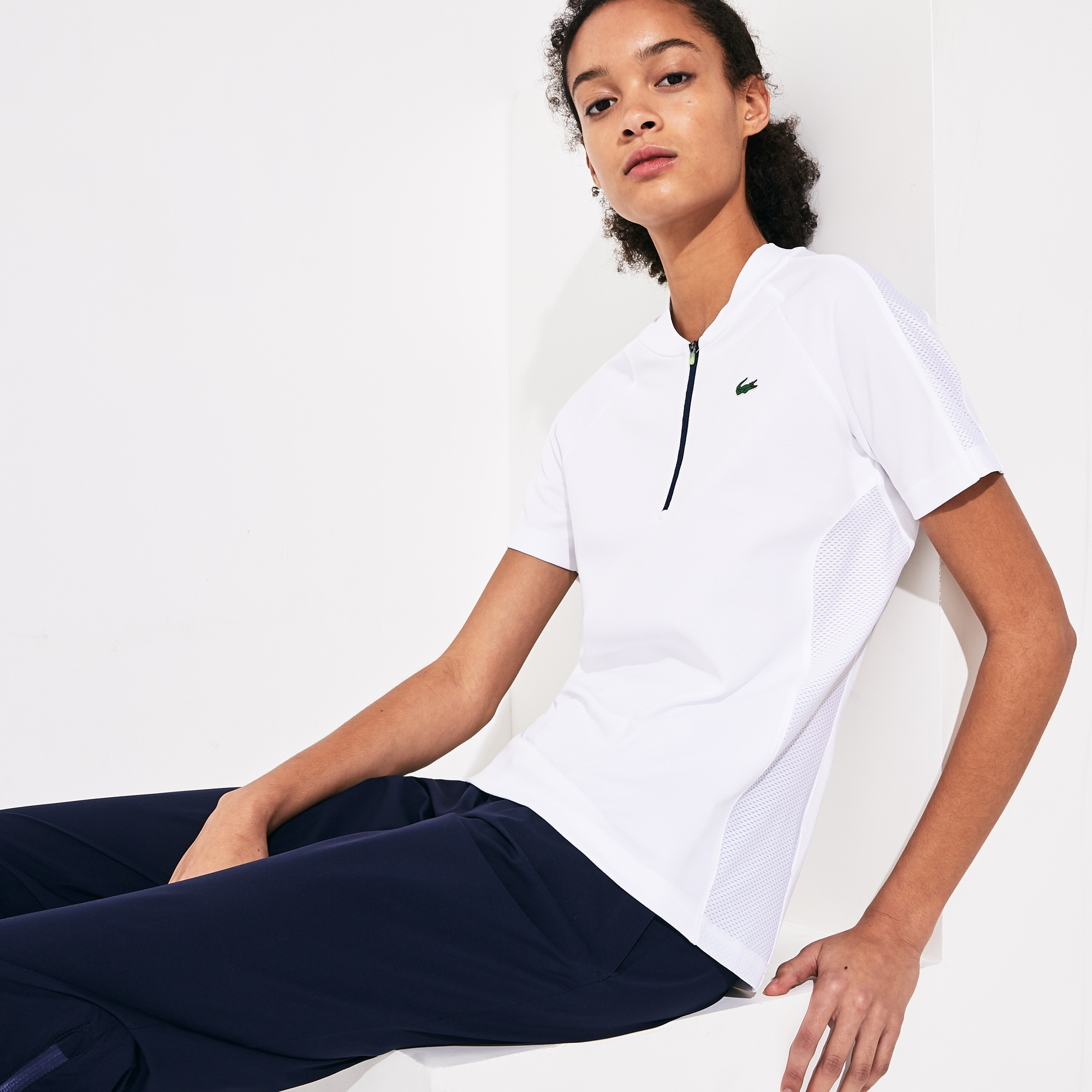 Polo da golf da donna bi-materiale traspirante con collo bomber con zip Lacoste SPORT