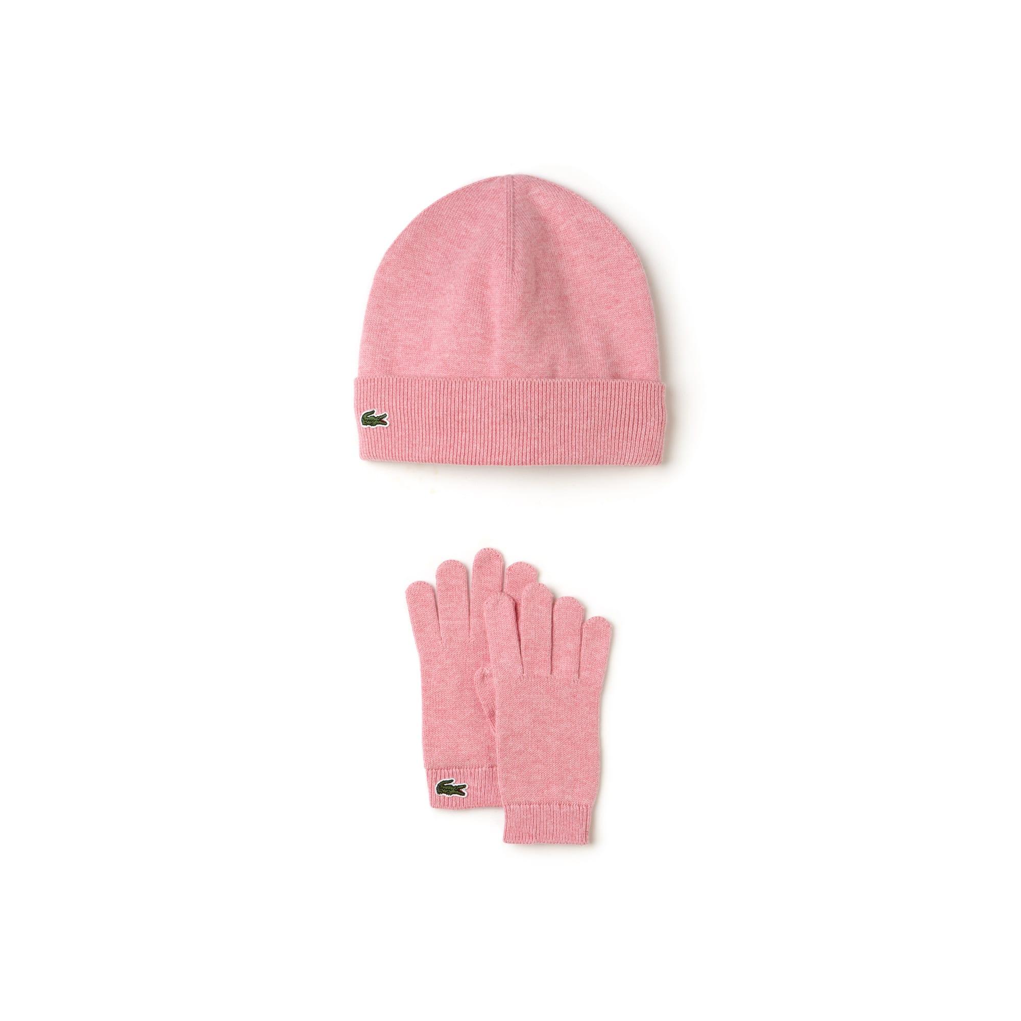 Berretto e guanti da bambino in jersey di cotone e cachemire
