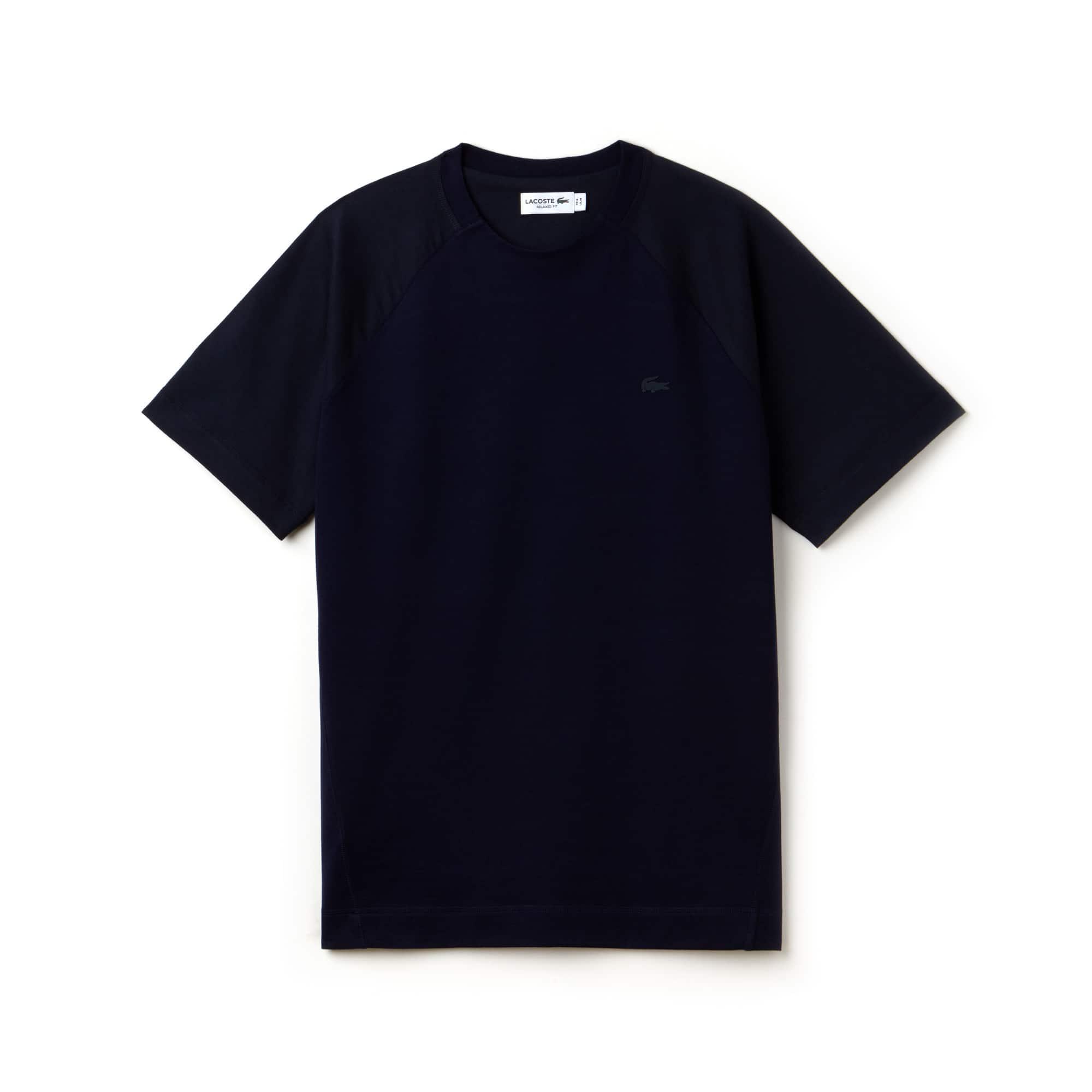 T-shirt a girocollo in jersey con maniche a contrasto