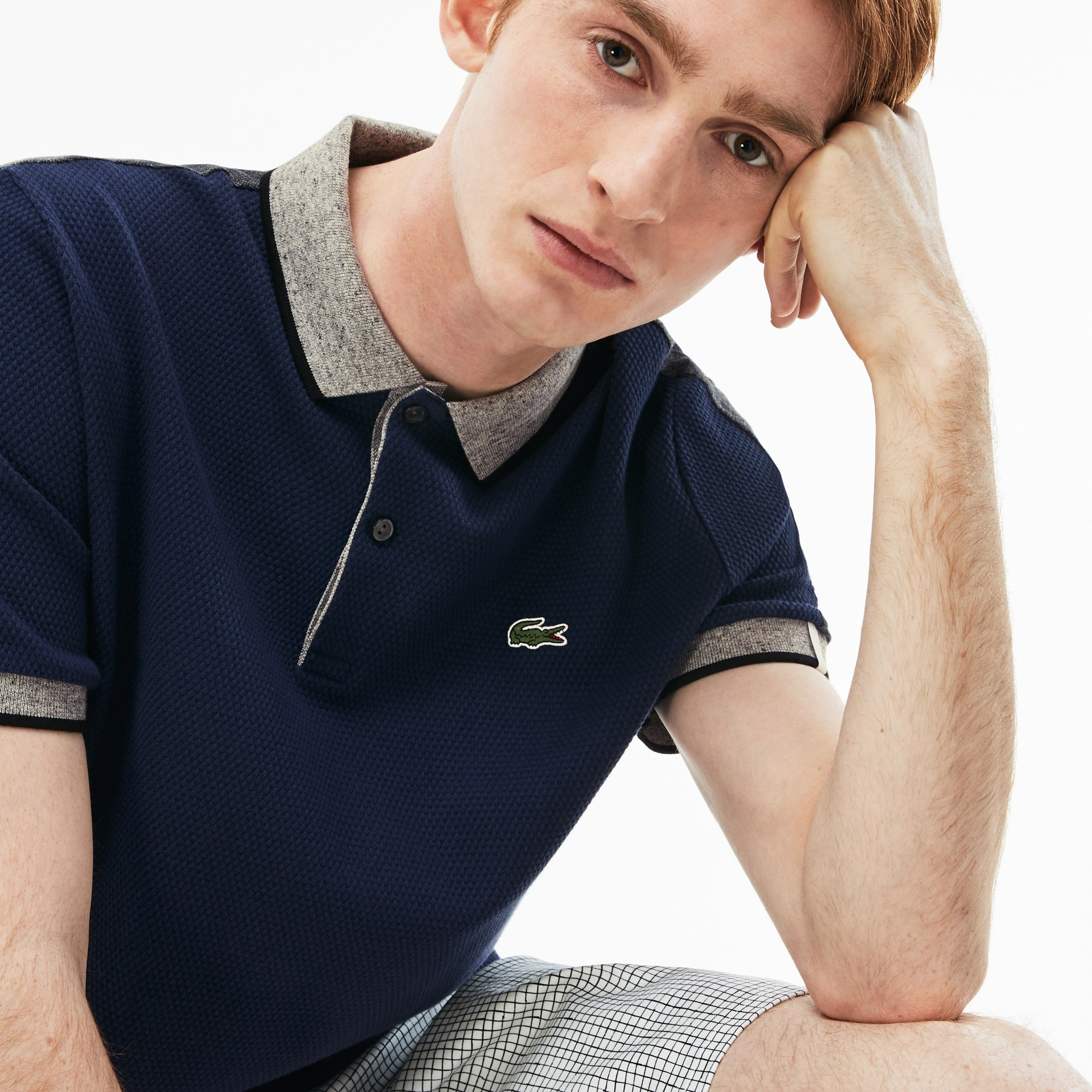 Polo slim fit Lacoste LIVE in maglia di cotone color block