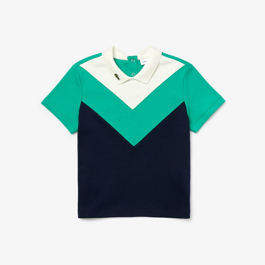Polo da bambina in cotone color block con colletto a revers Lacoste