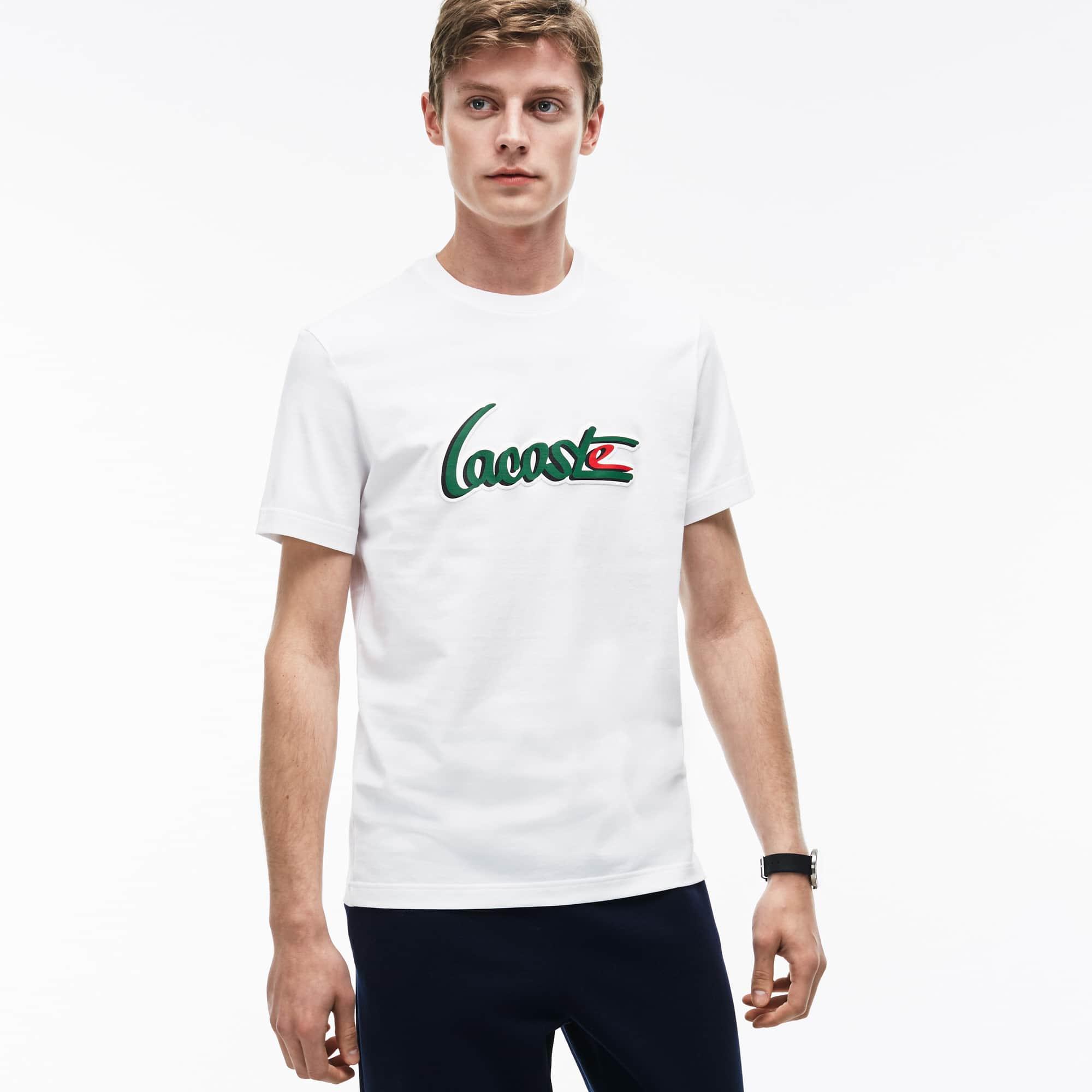 T-shirt a girocollo in jersey con scritta LACOSTE in rilievo