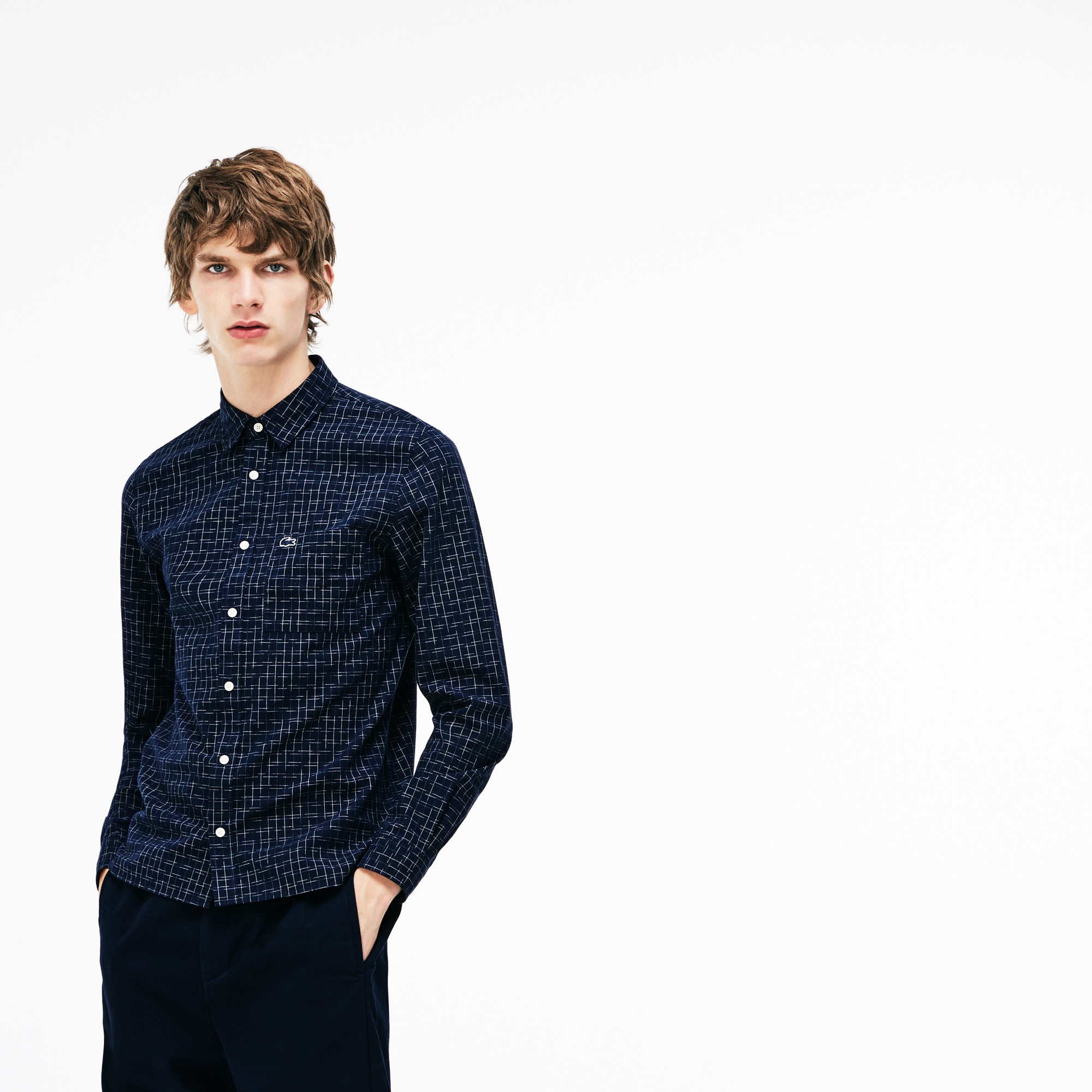Camicia slim fit in popeline délavé con stampa Ikat