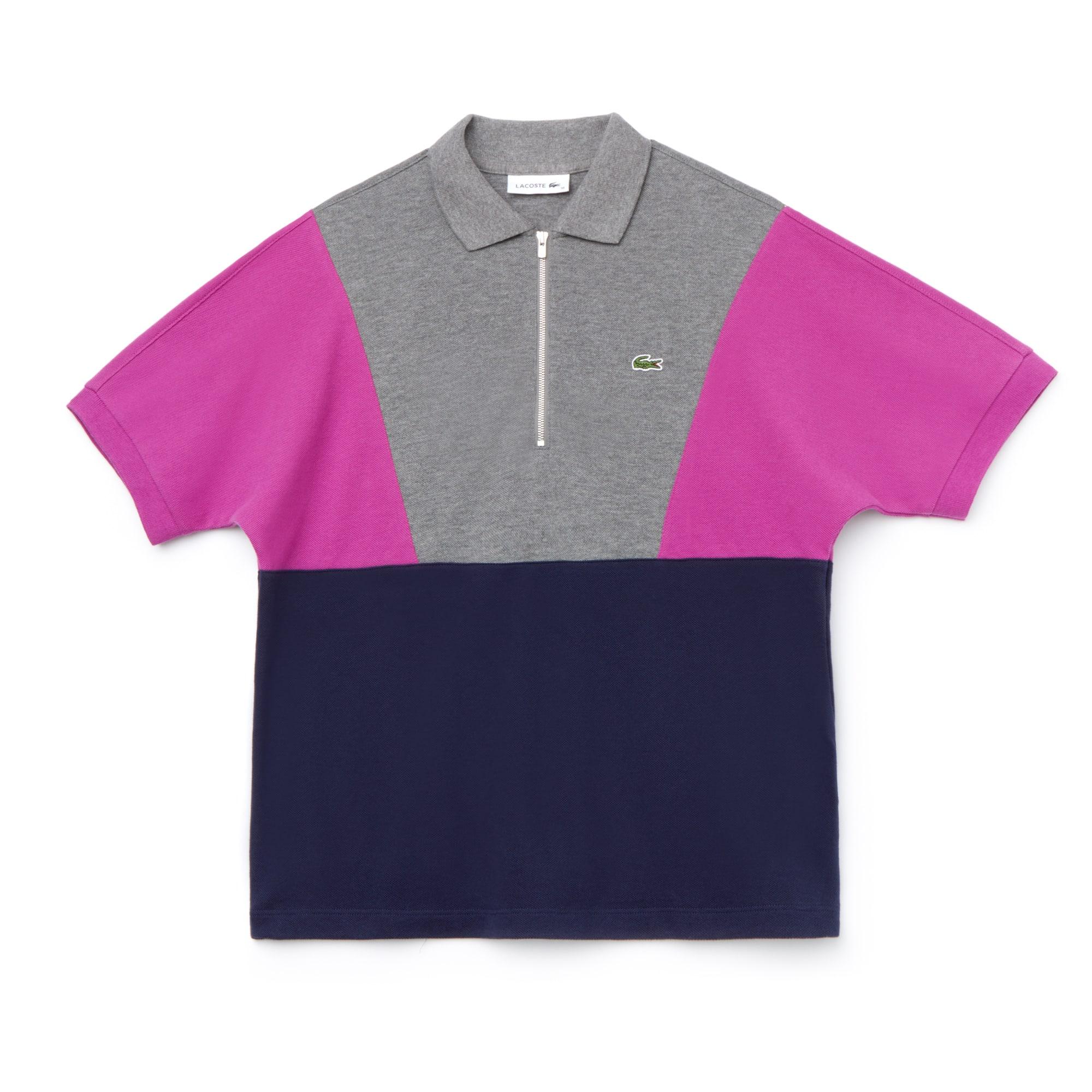 Polo Lacoste con collo a zip in piqué bouclé color block