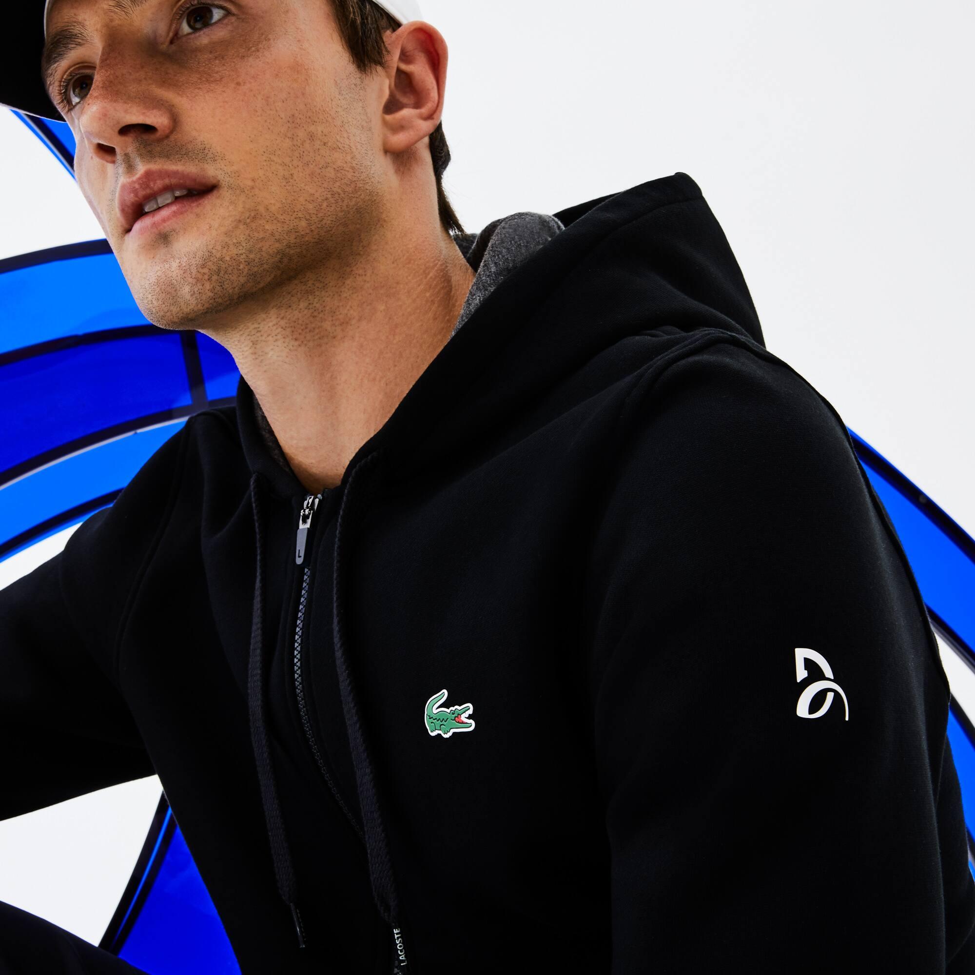 Felpa con zip e cappuccio Lacoste SPORT Collezione Novak Djokovic - Off Court in mollettone tecnico tinta unita