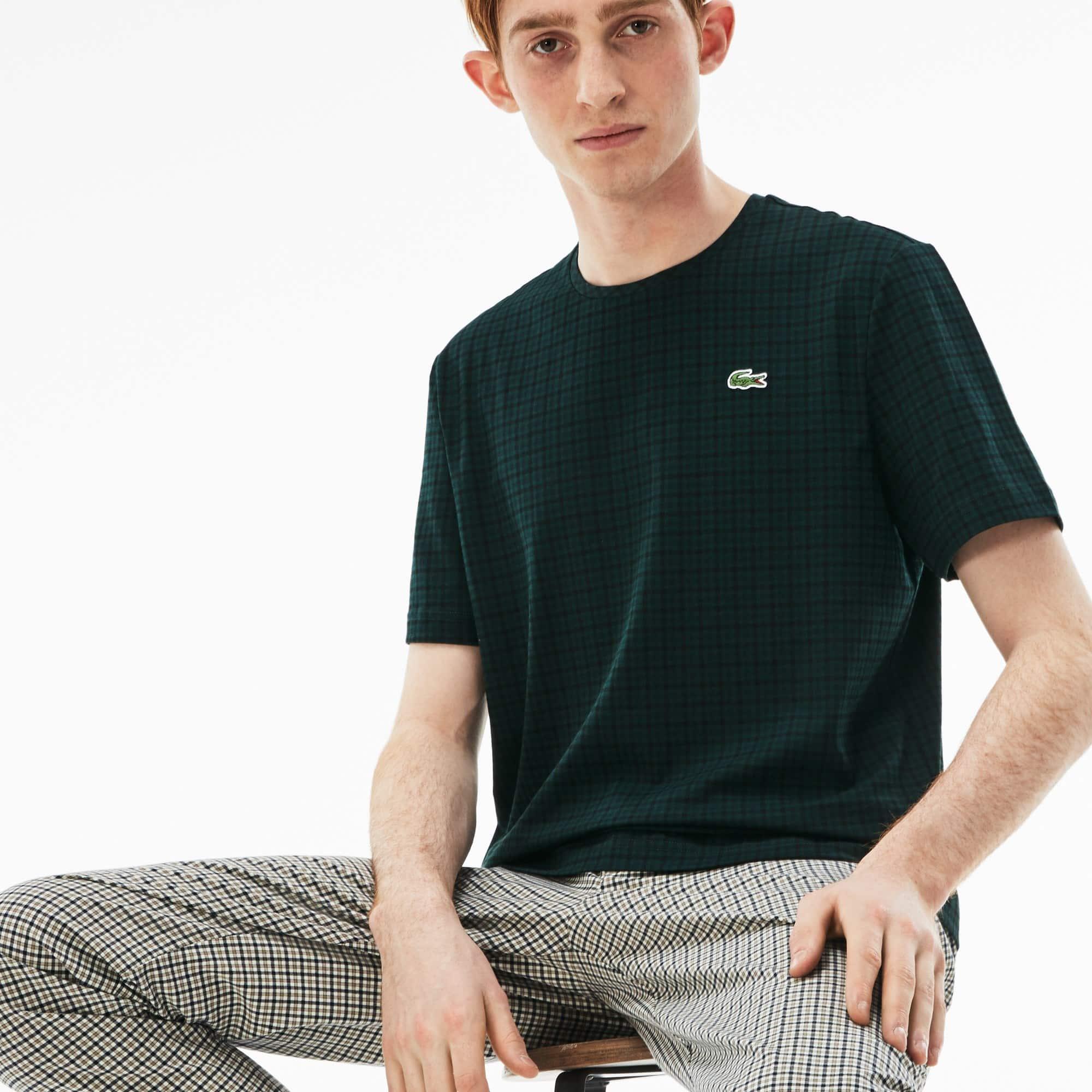 T-shirt a girocollo Lacoste LIVE in jersey di cotone a quadretti