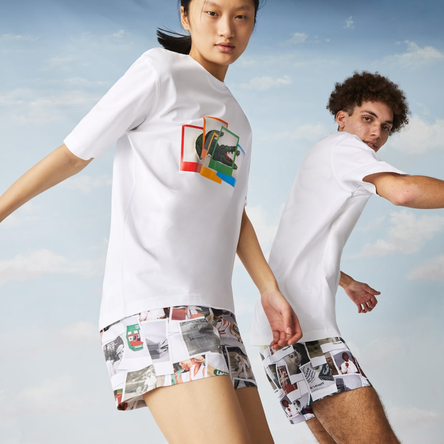 T-shirt unisex loose fit in cotone Lacoste LIVE x Polaroid