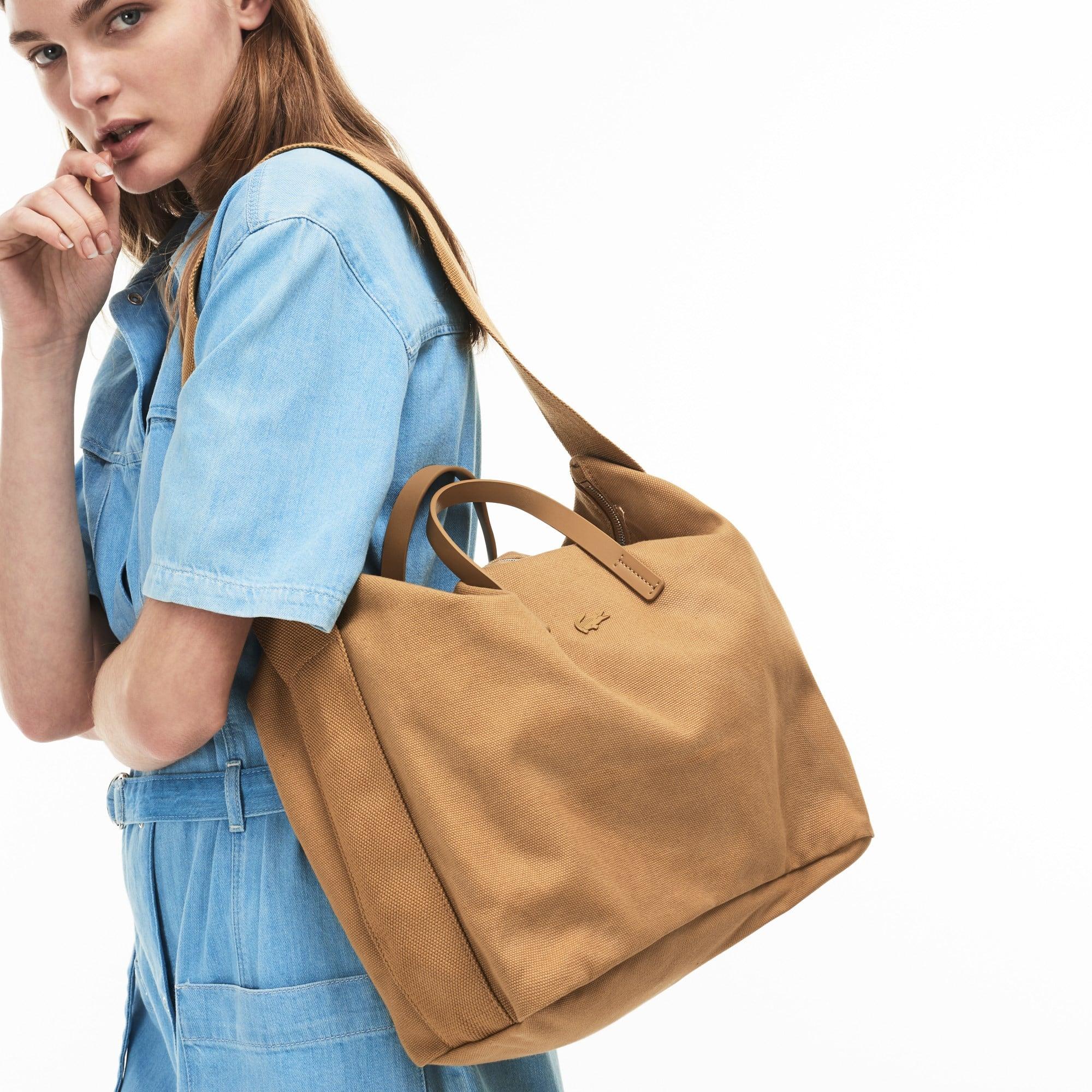 Shopping bag con zip e tracolla Suzie in cotone monocromo