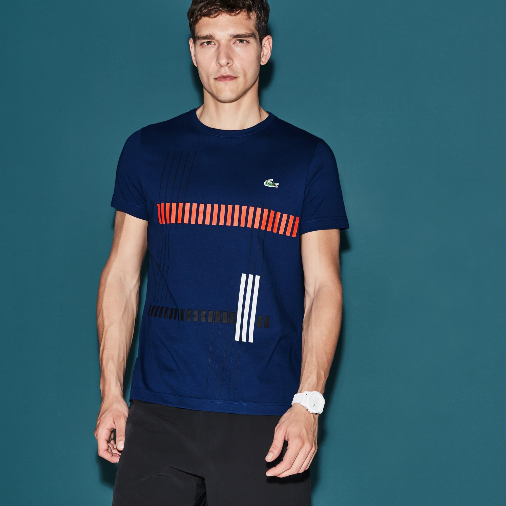 T-shirt Tennis Lacoste SPORT in jersey tecnico con scritta a righe