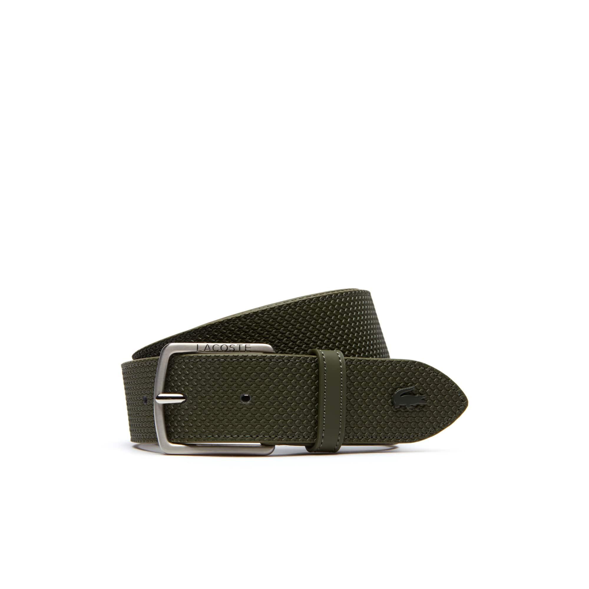 Cintura in pelle Chantaco con fibbia ad ardiglione dotata di incisione Lacoste