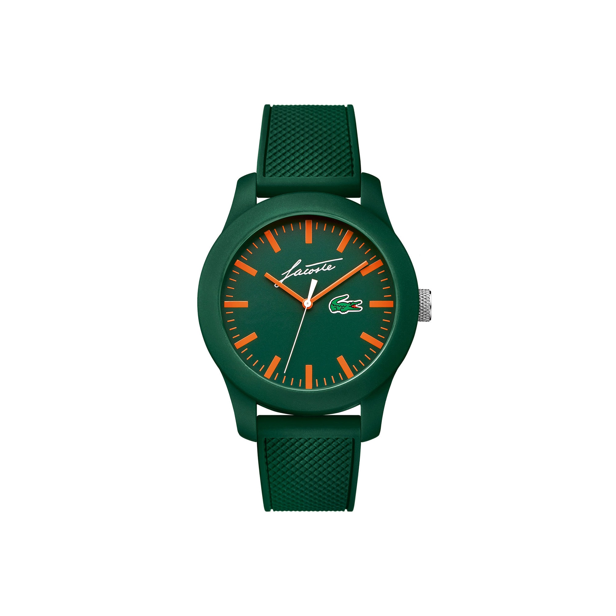 Lacoste 12.12 watch with green silicone strap and René Lacoste signature