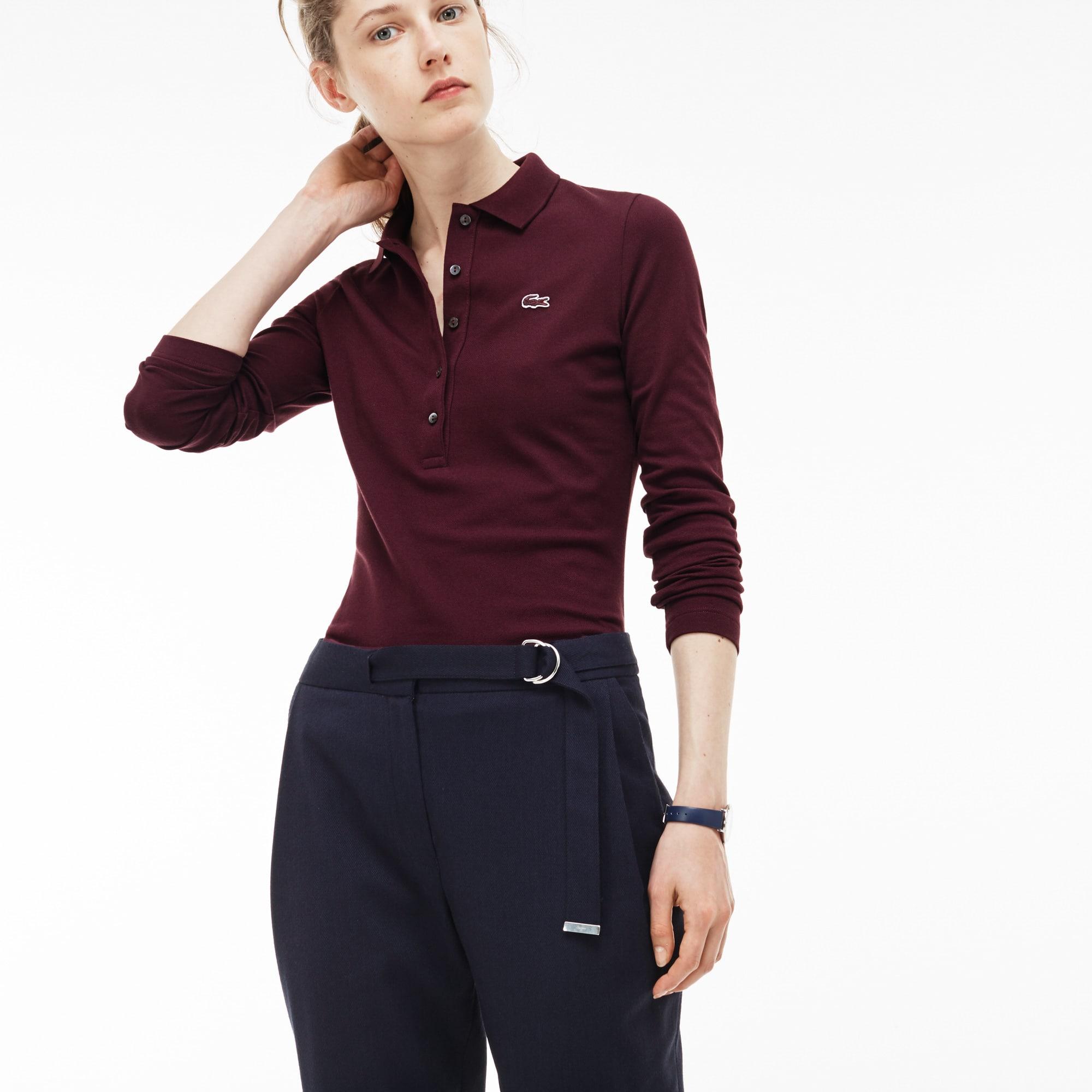 Polo slim fit Lacoste a maniche lunghe in mini piqué stretch