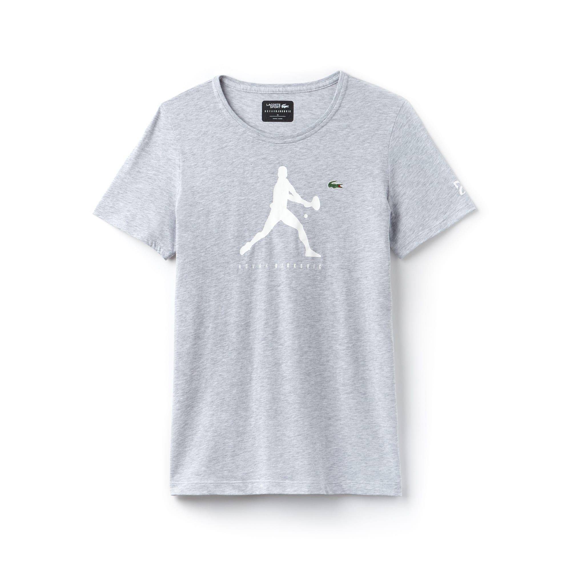 T-shirt girocollo Lacoste SPORT COLLEZIONE NOVAK DJOKOVIC SUPPORT WITH STYLE in jersey tinta unita con stampa