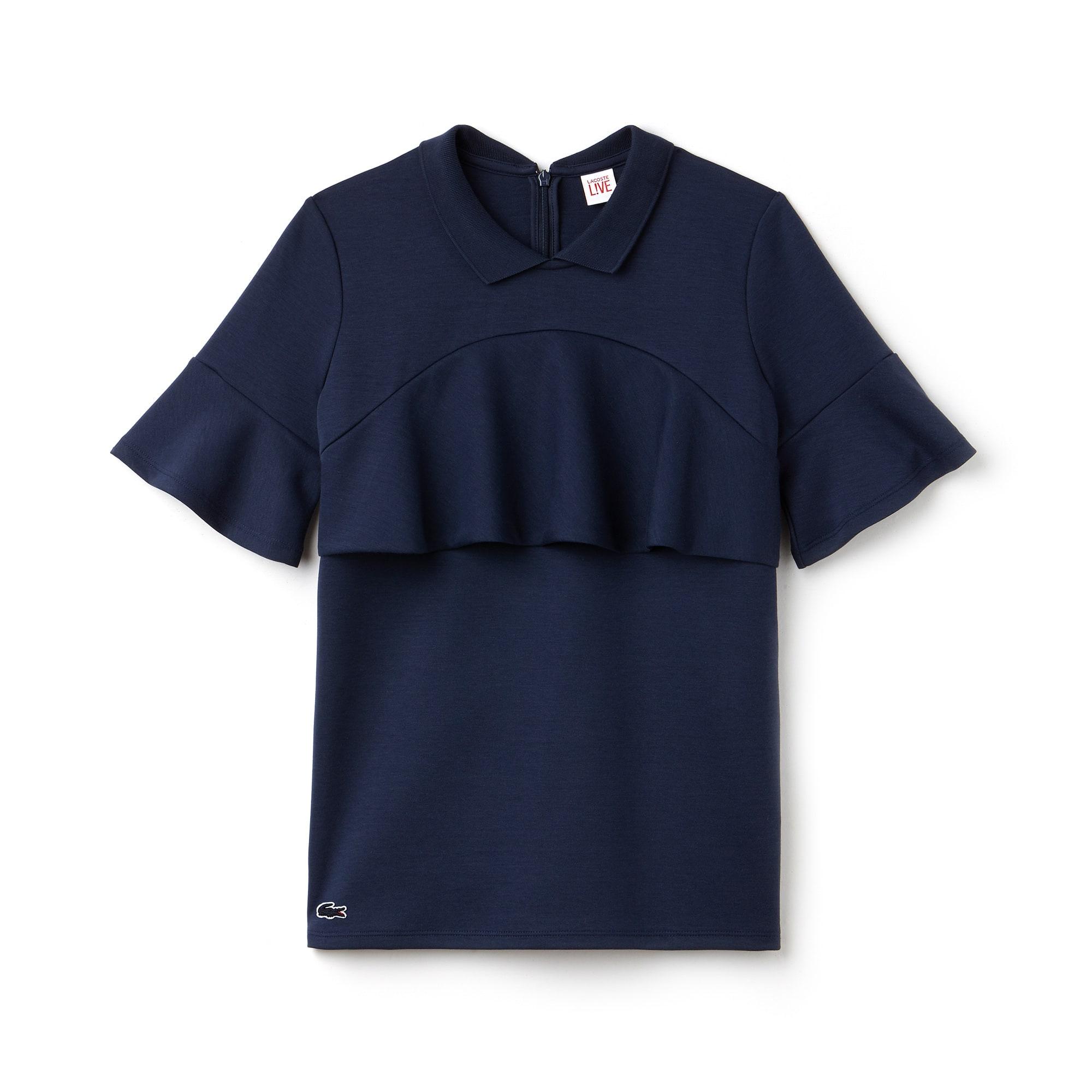 Camicia boxy fit Lacoste LIVE in jersey tinta unita con volant