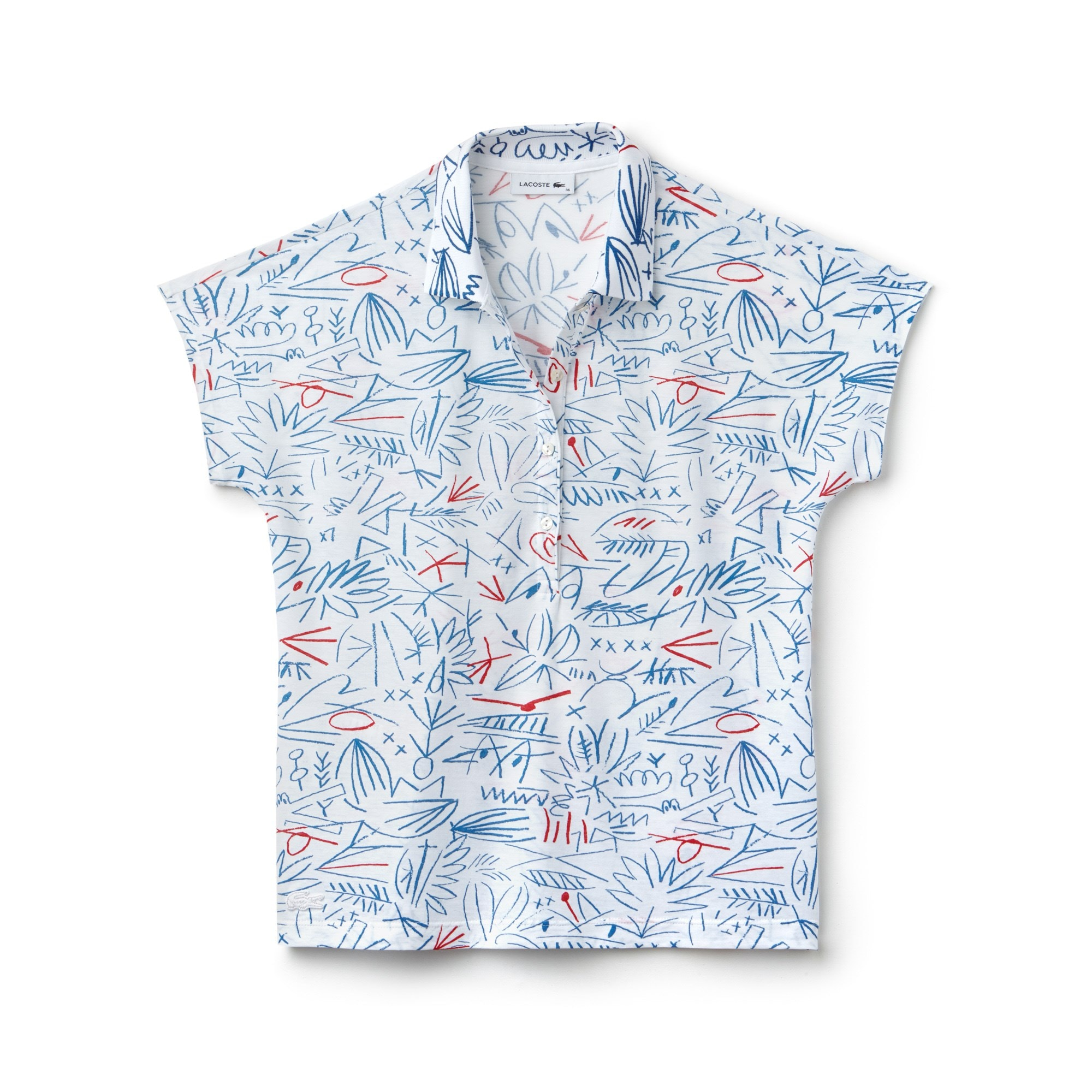 Polo Lacoste in jersey crêpe di cotone stampato