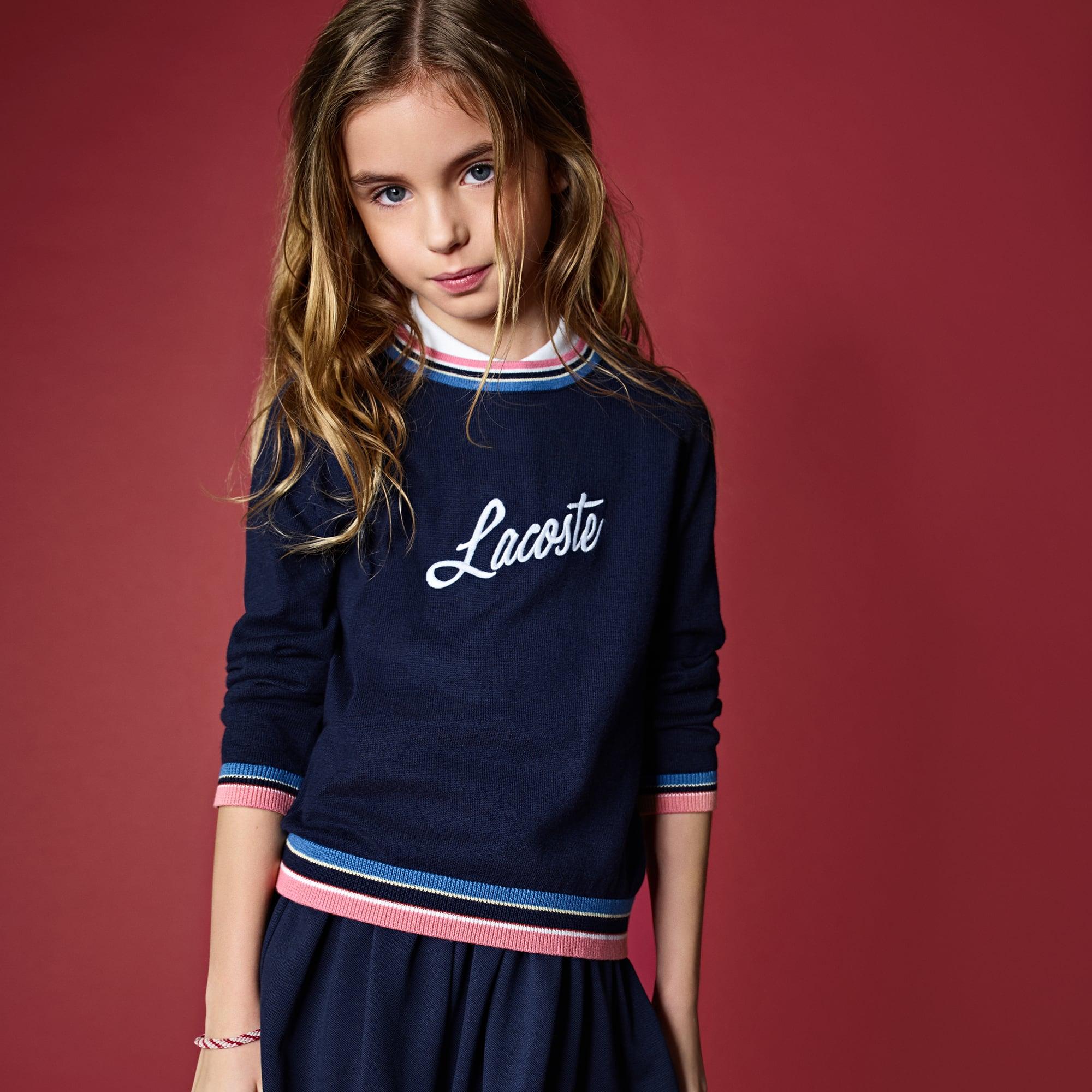 Pullover a girocollo Bambina in jersey con ricamo LACOSTE