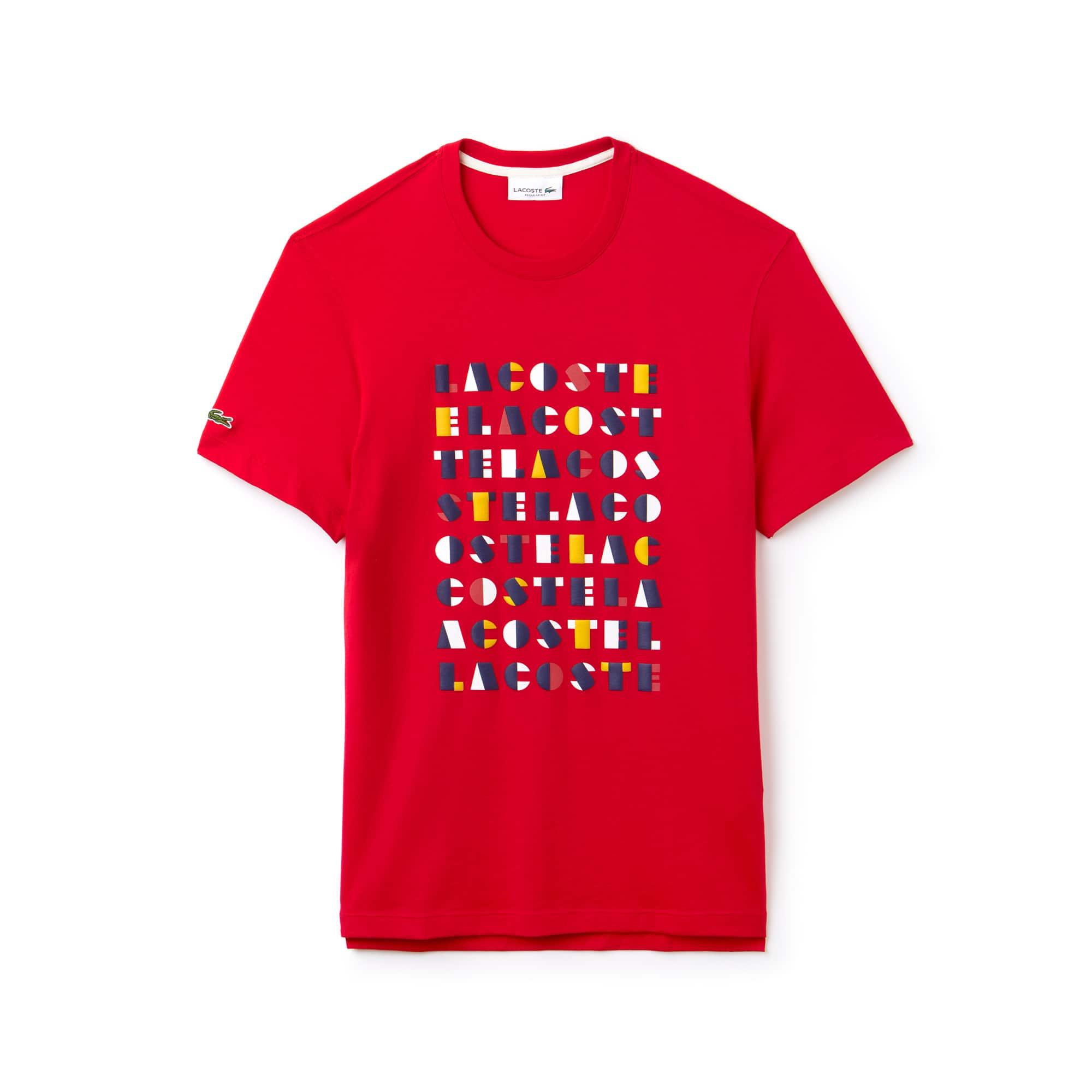 T-shirt a girocollo in jersey di cotone con marchio in rilievo