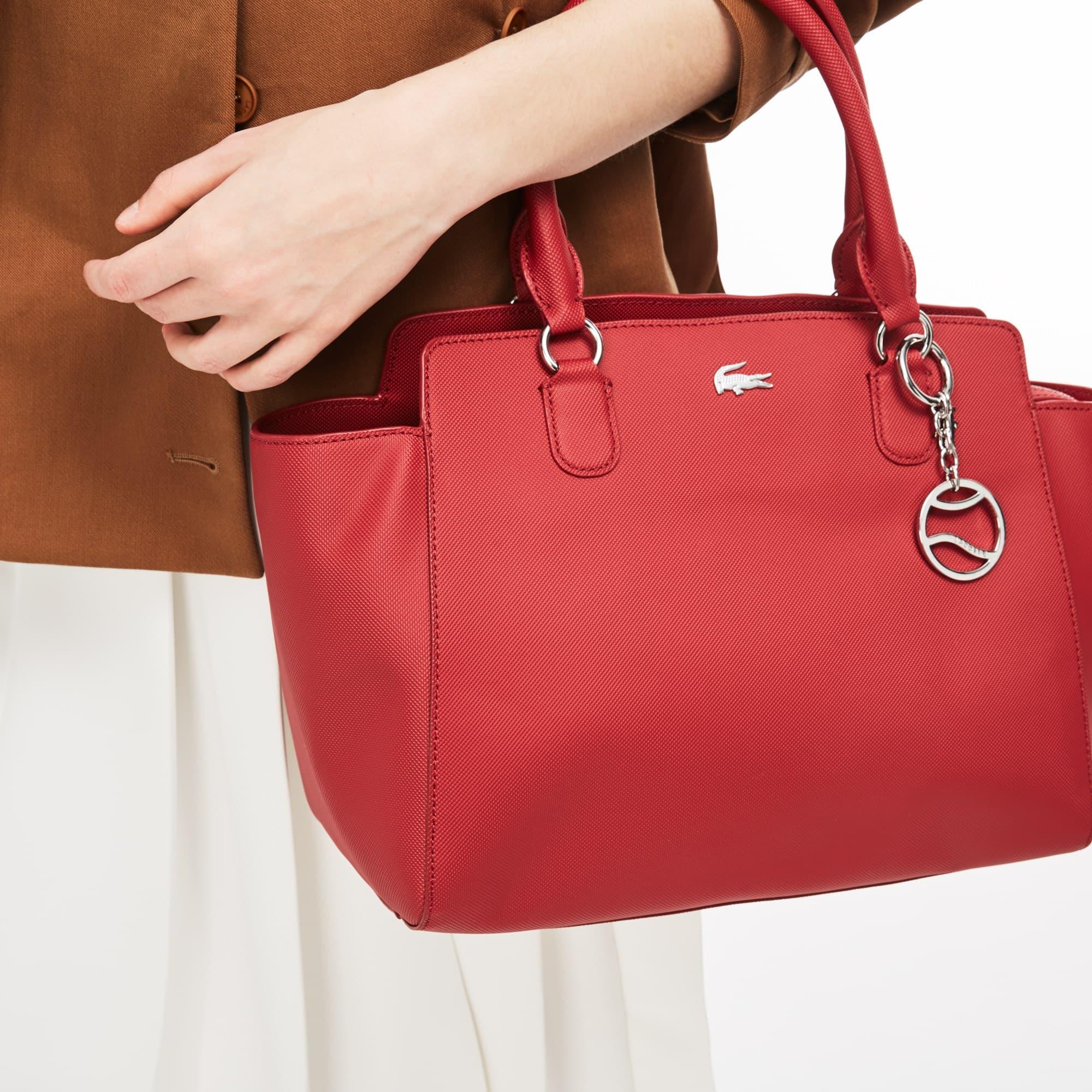 Shopping bag con soffietti Daily Classic in tela spalmata a piqué tinta unita