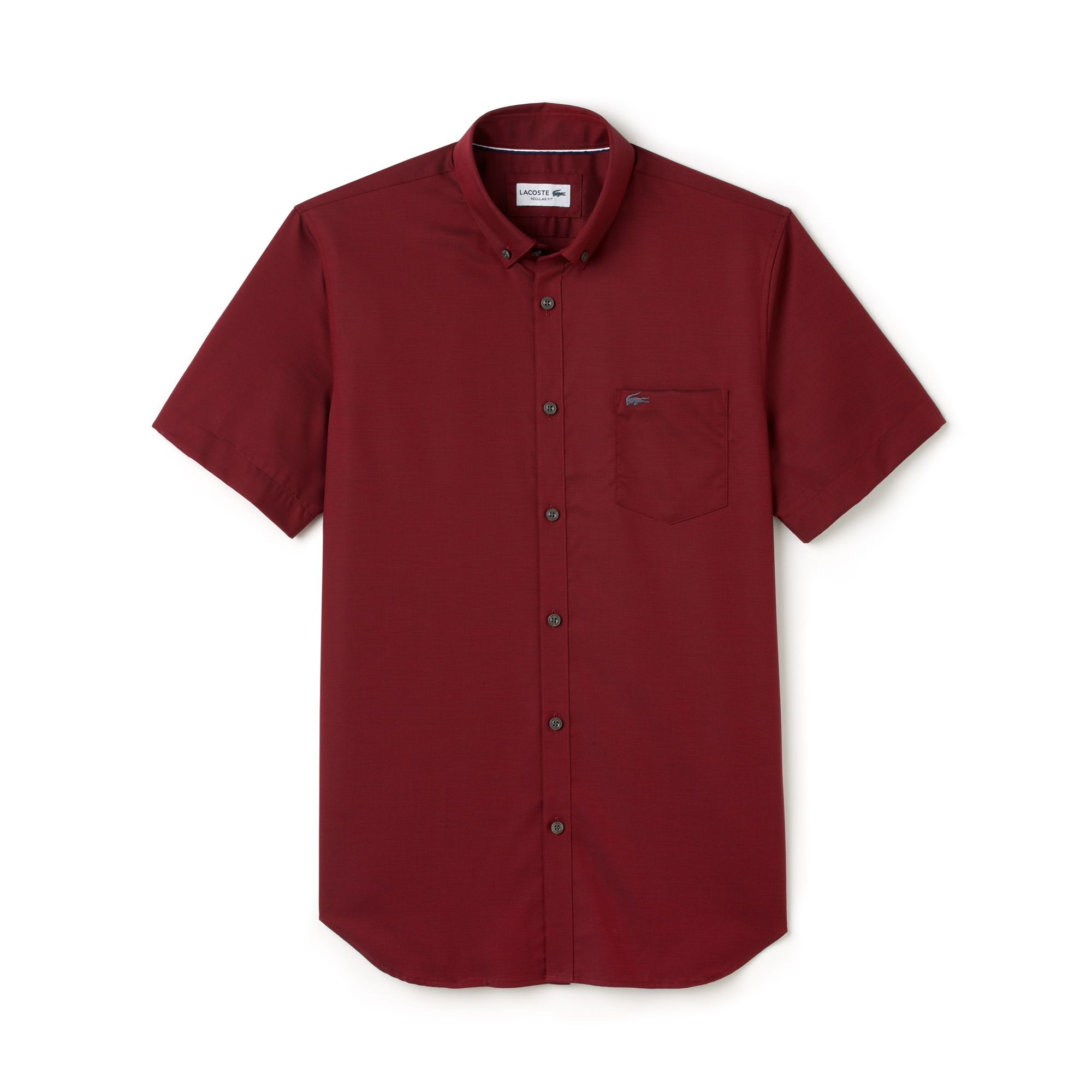 Camicia regular fit a maniche corte in mini piqué tinta unita