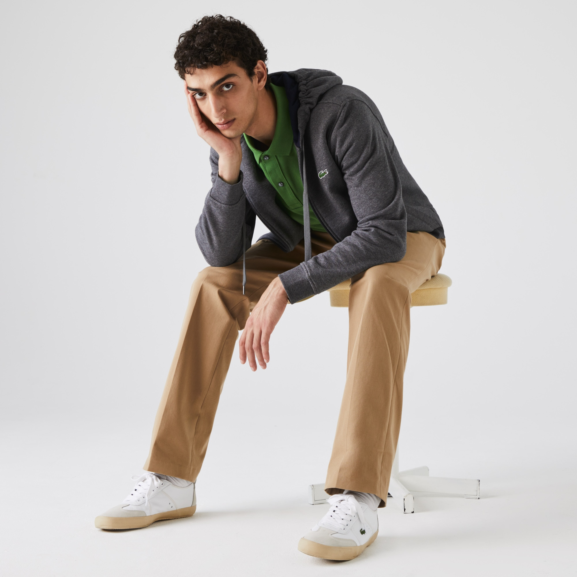 Felpa Lacoste Tennis con zip e cappuccio in pile in tinta unita