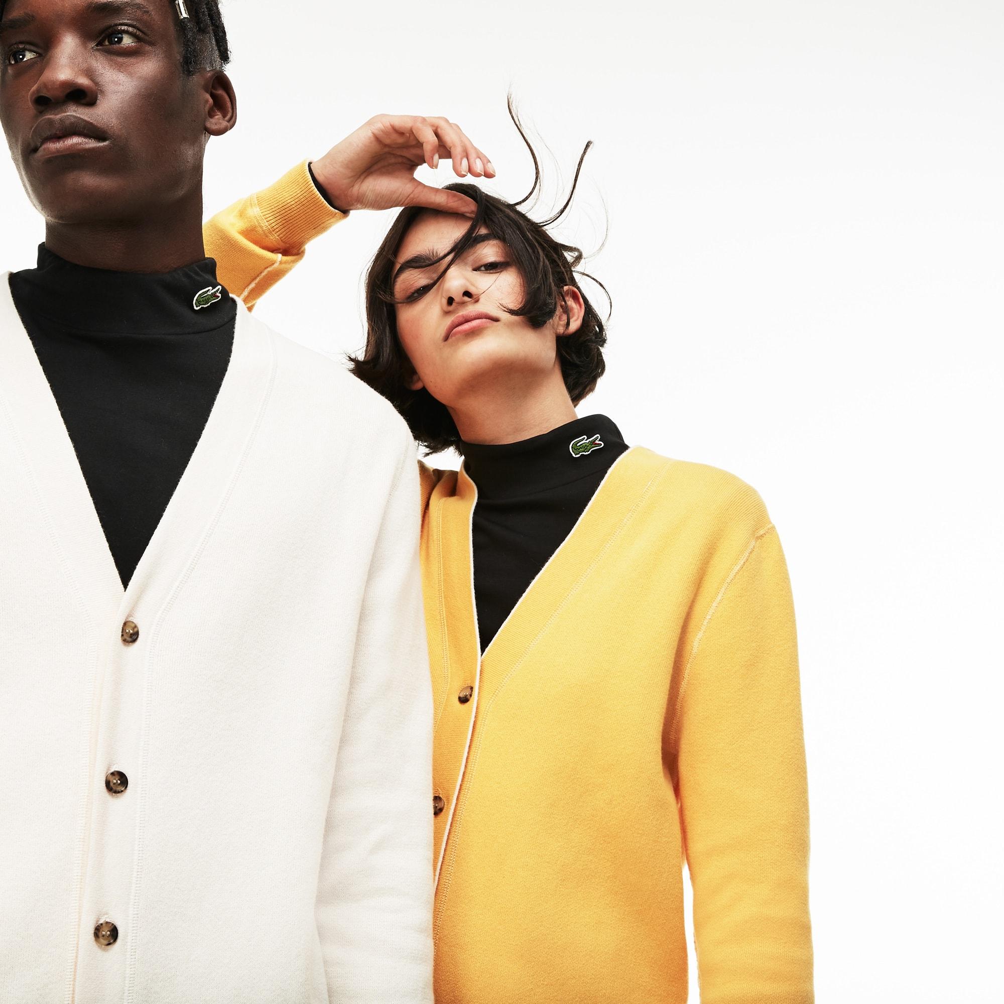 Cardigan unisex reversibile Lacoste LIVE in jersey di lana tinta unita