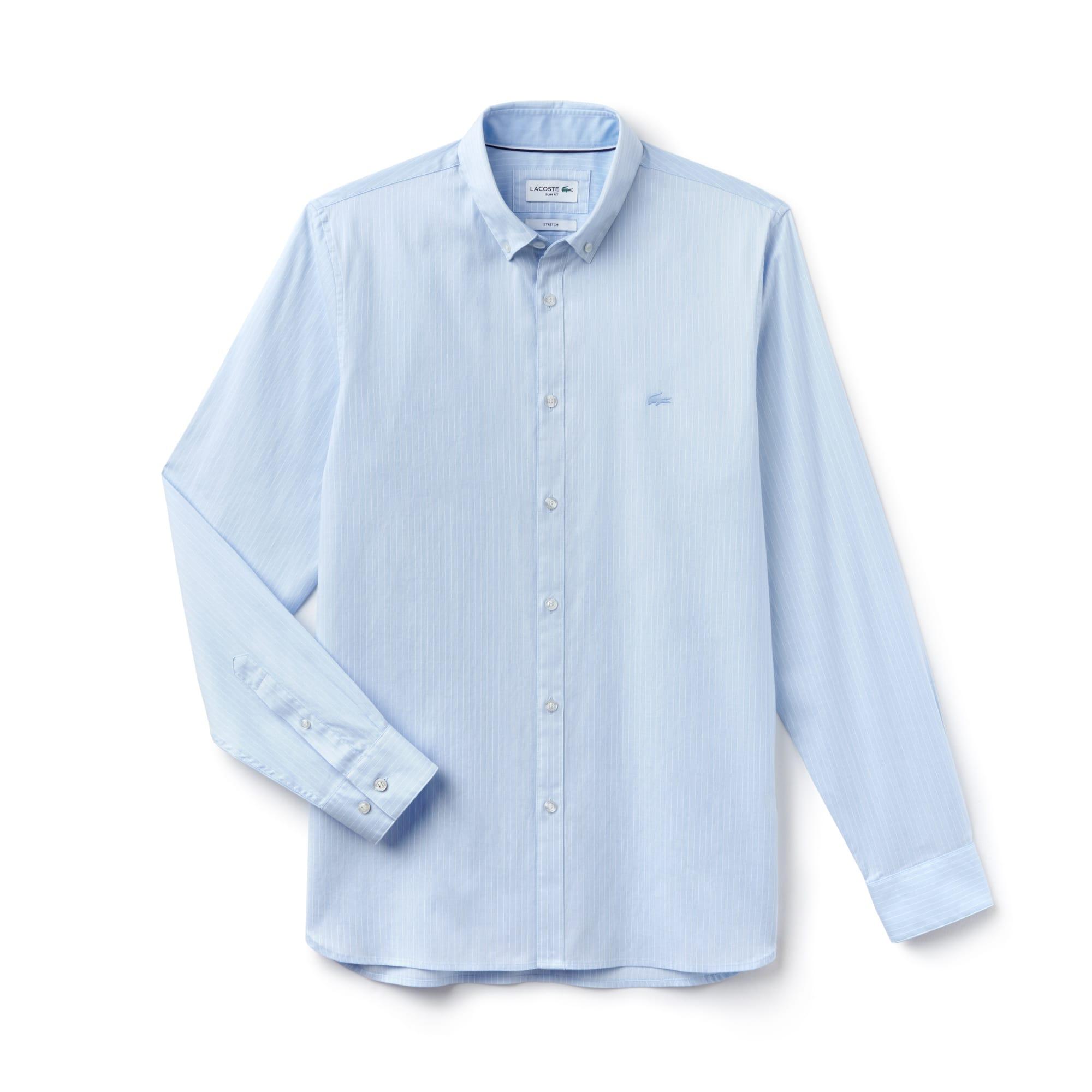 Camicia slim fit in cotone pinpoint stretch a righe
