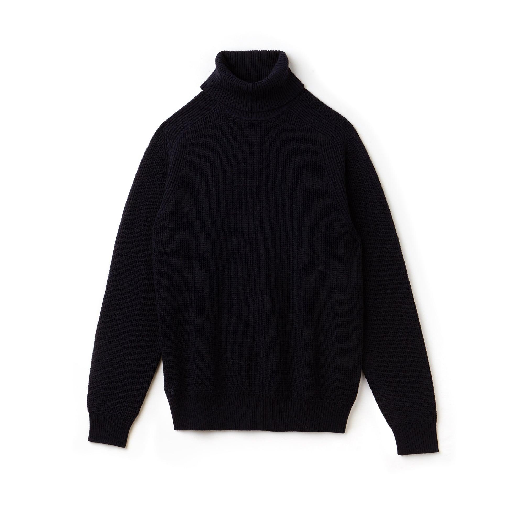 Pullover con collo alto in lana e cotone goffrati tinta unita