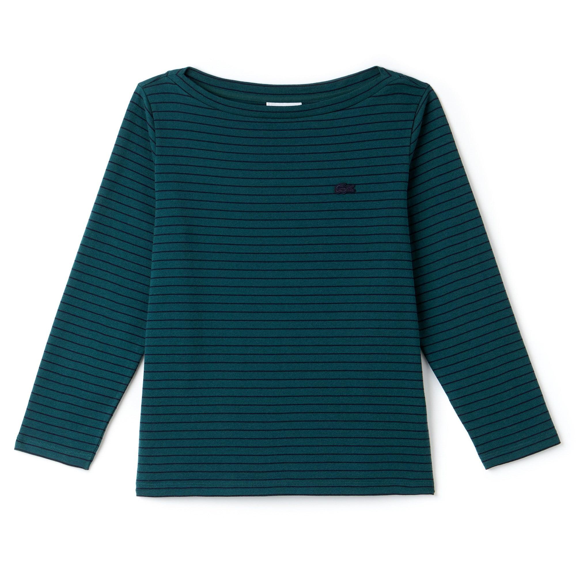 Maglia a righe marinière con collo a barchetta in jersey di cotone