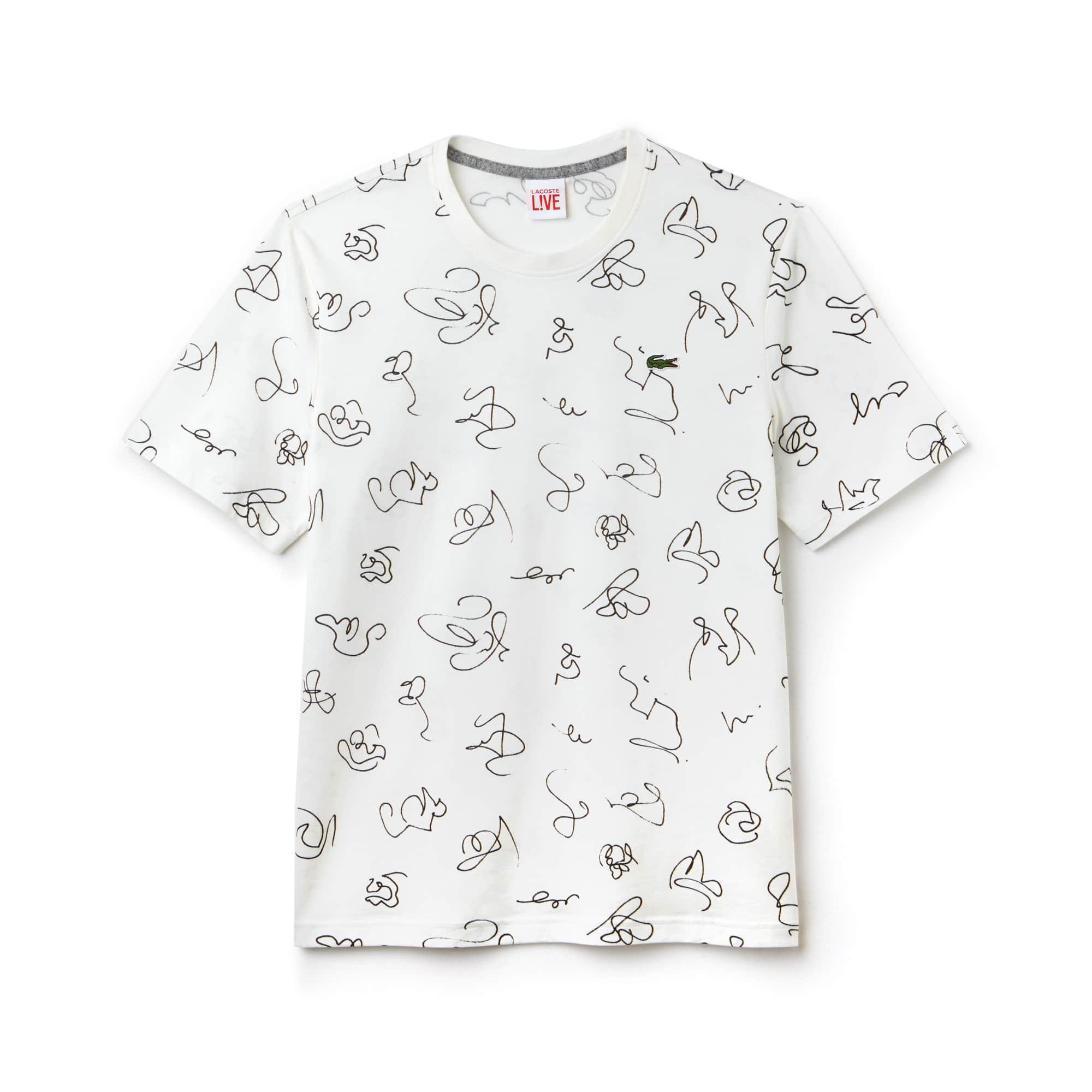 T-shirt a girocollo Lacoste LIVE in jersey di cotone con stampa di disegni
