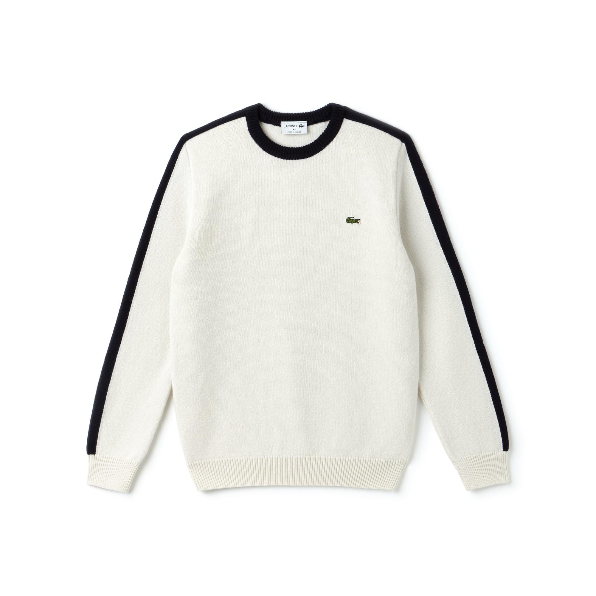 Pullover a girocollo Made in France in jersey con fasce a contrasto