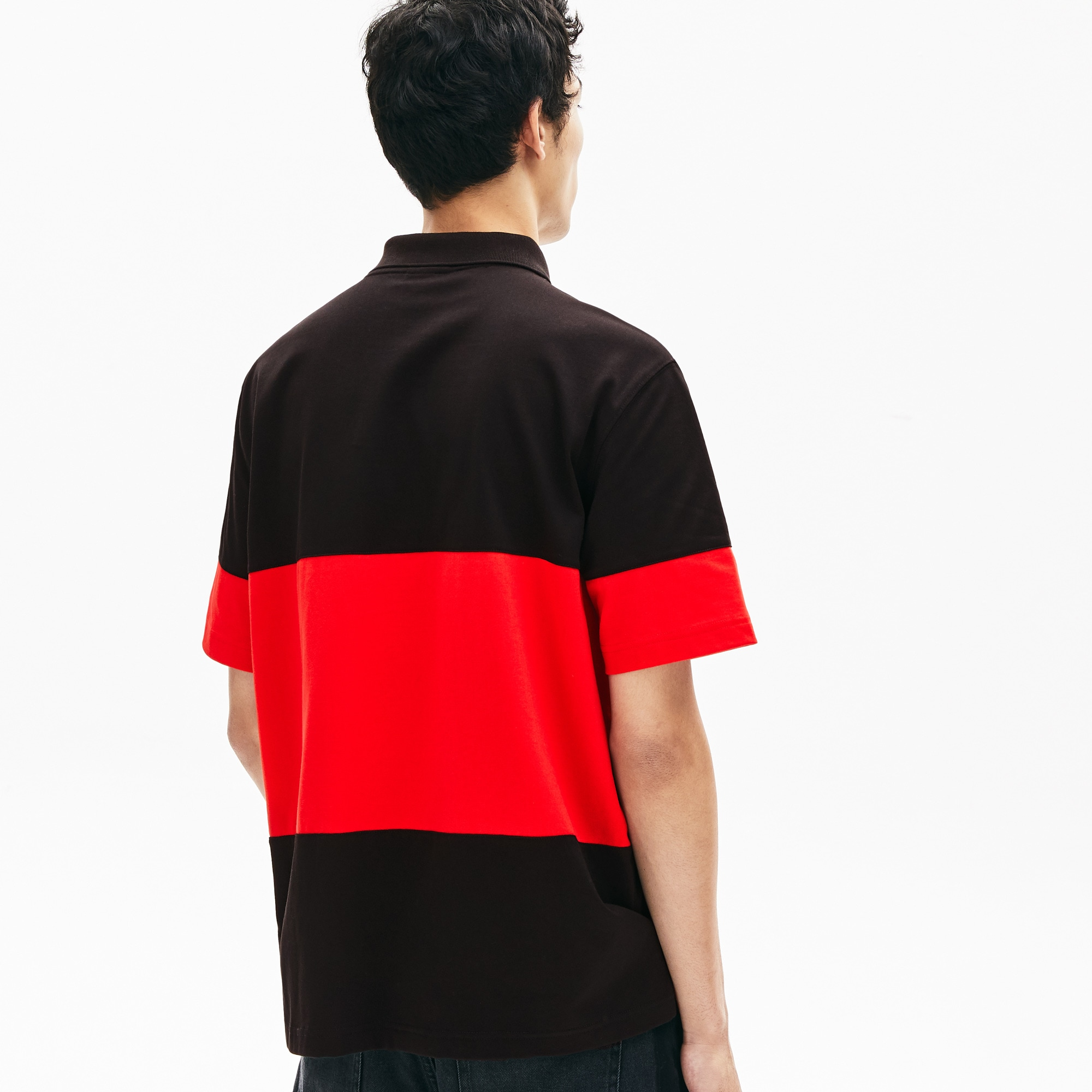 Polo da uomo in cotone color block loose fit Lacoste LIVE