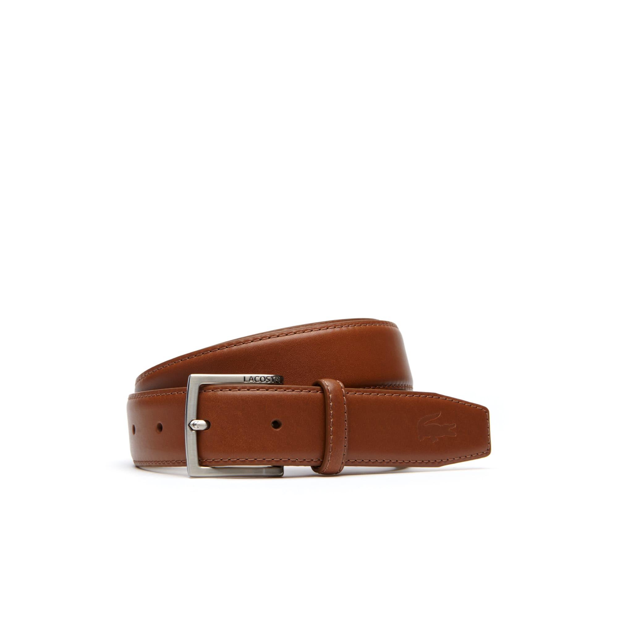 Cintura in pelle con fibbia ad ardiglione dotata di incisione Lacoste da uomo