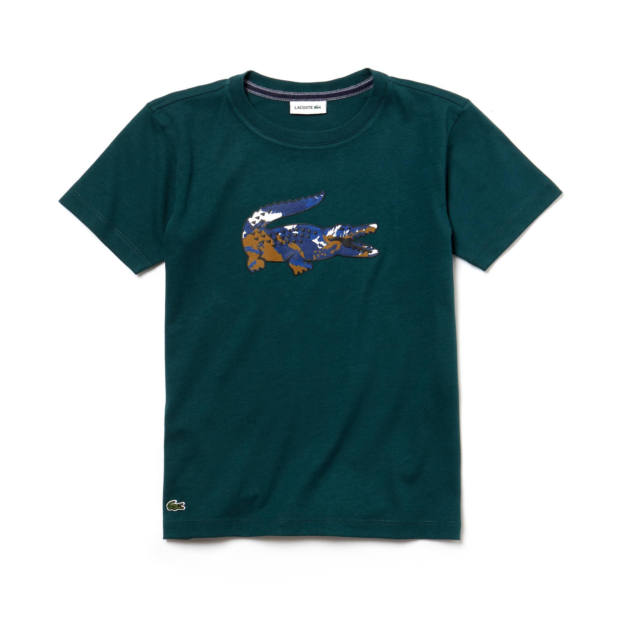 T-shirt da bambino in jersey di cotone con coccodrillo oversize