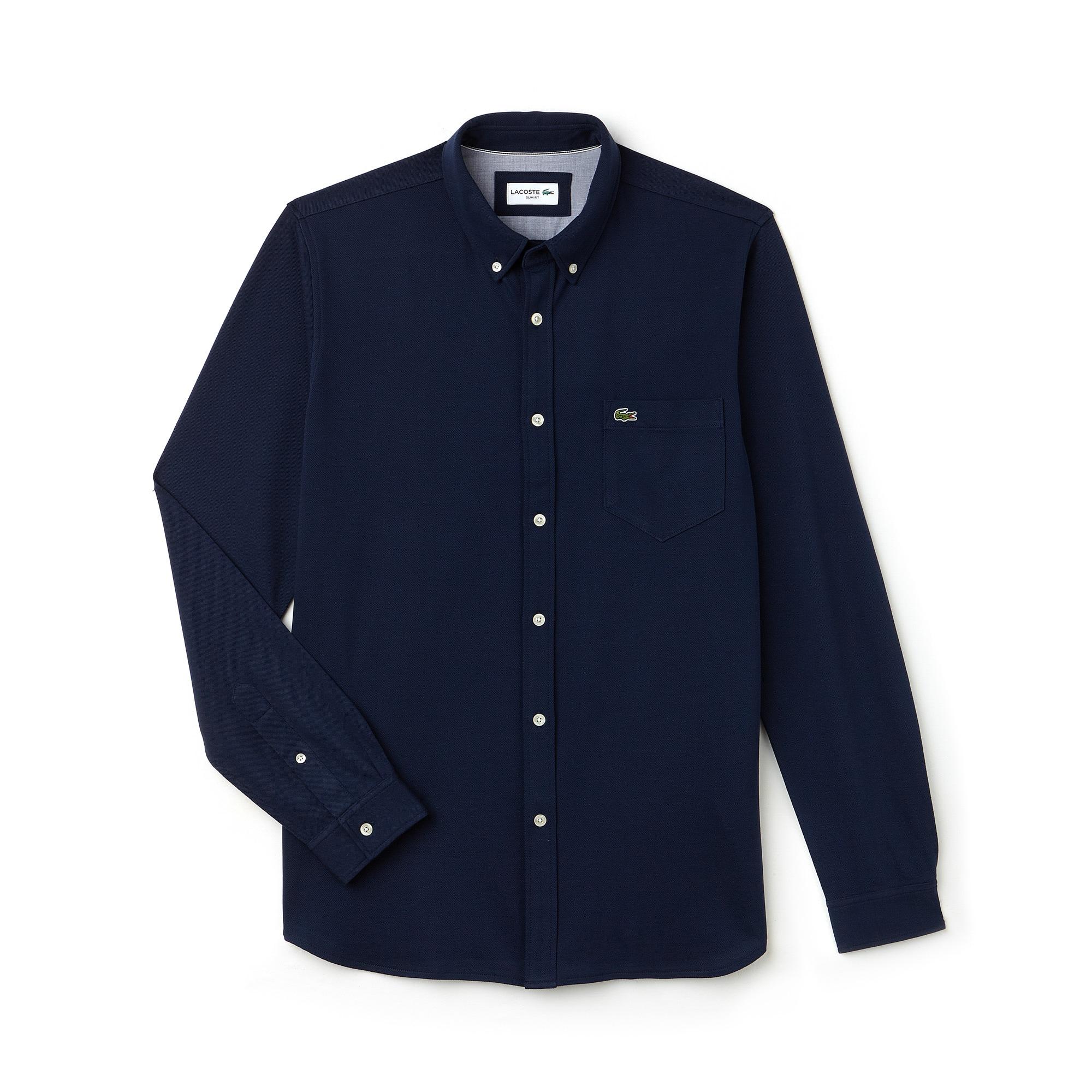 Camicia slim fit in jersey di cotone unita