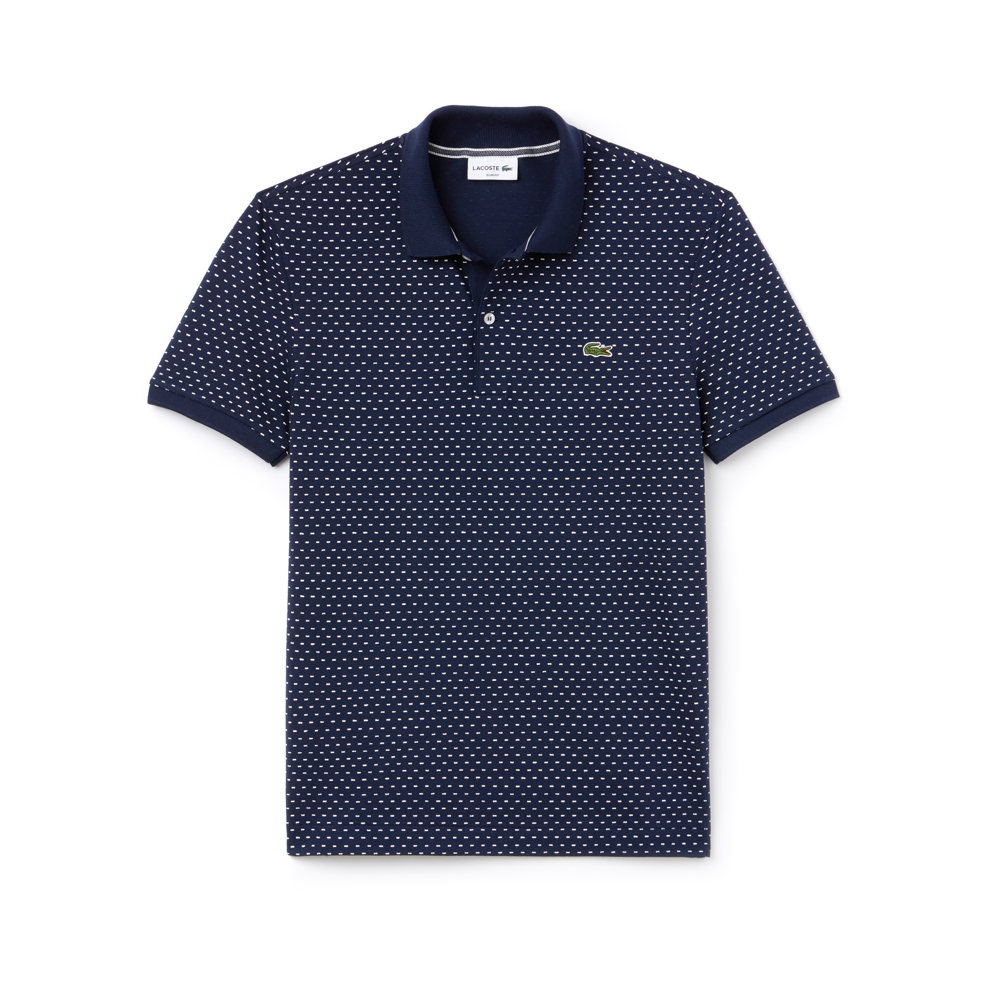 Polo slim fit Lacoste in mini piqué stampato