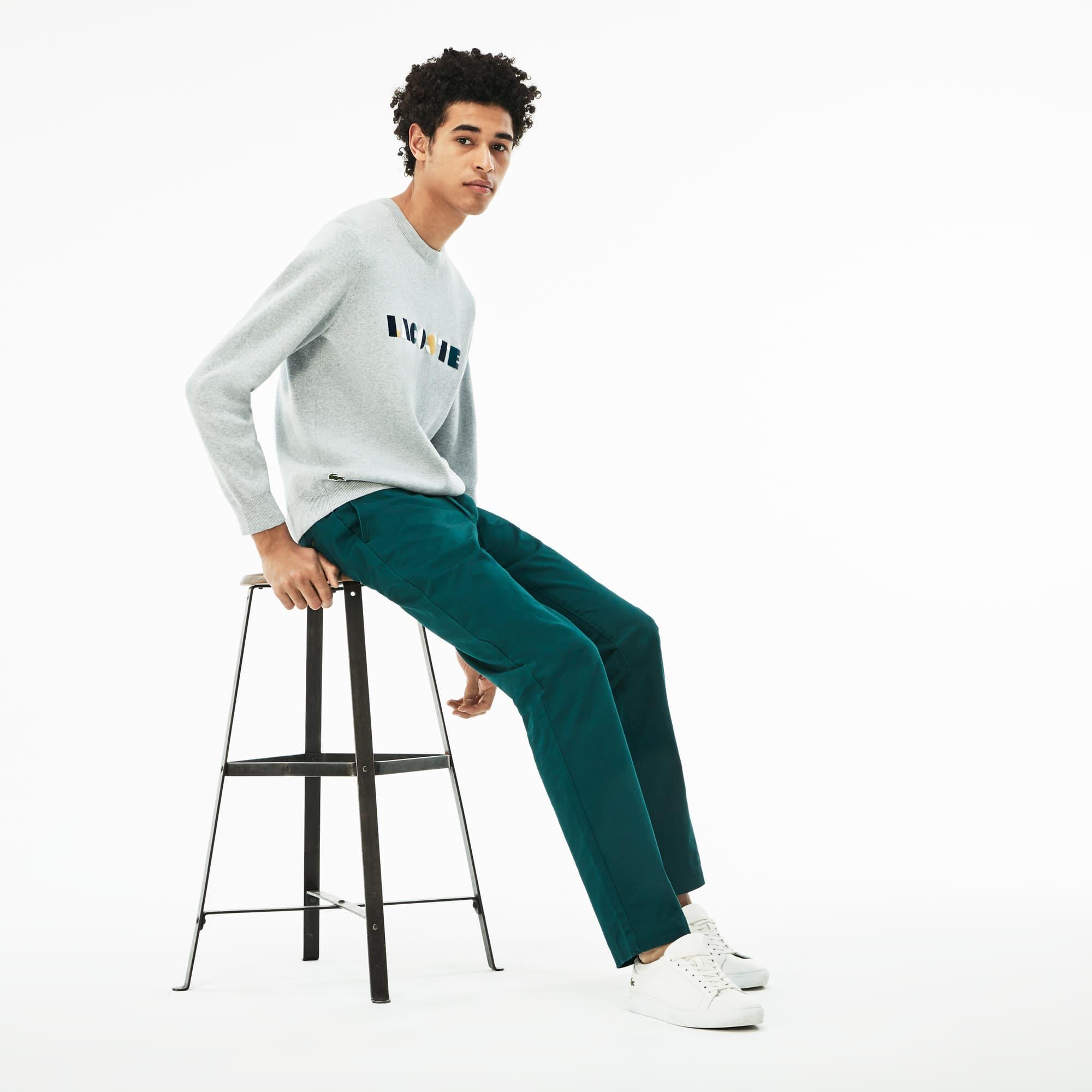 Pantaloni chino slim fit in gabardina stretch tinta unita