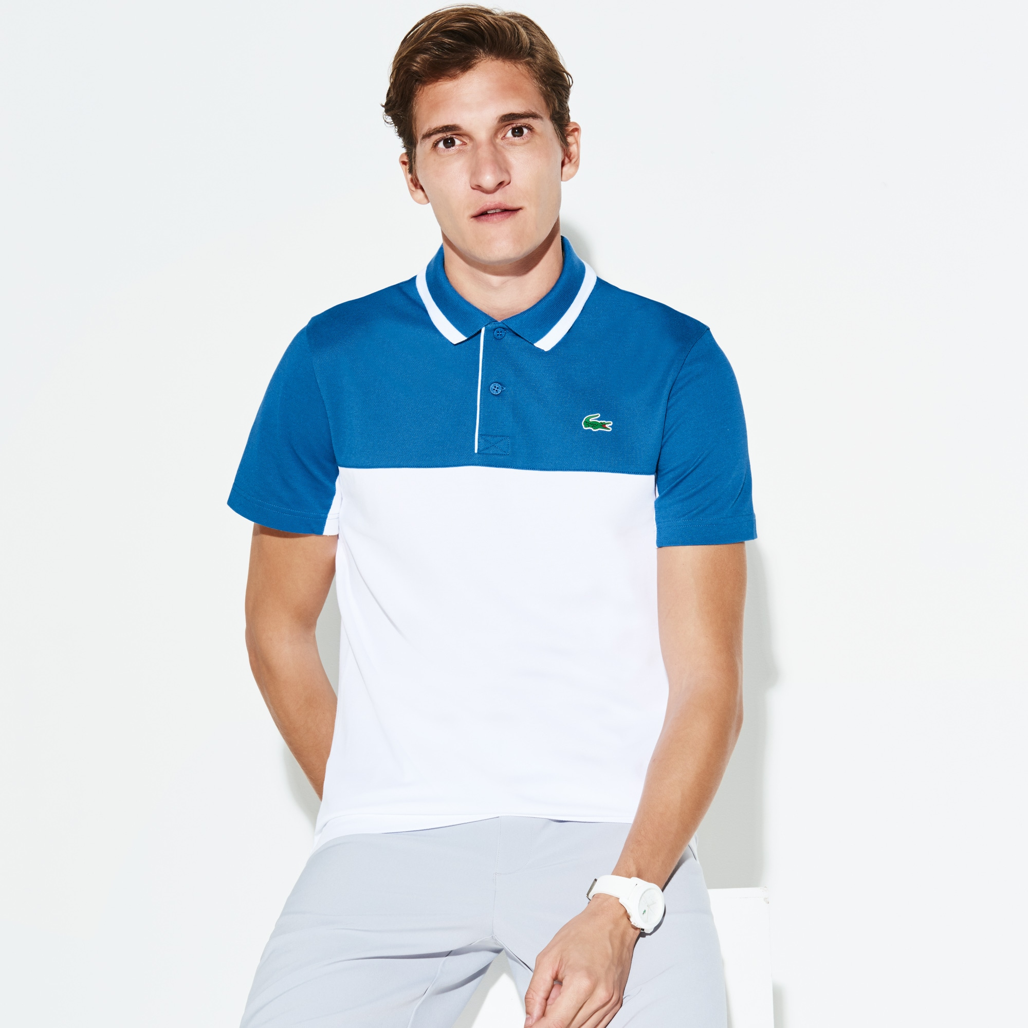 Polo Golf Lacoste SPORT in petit piqué tecnico color block