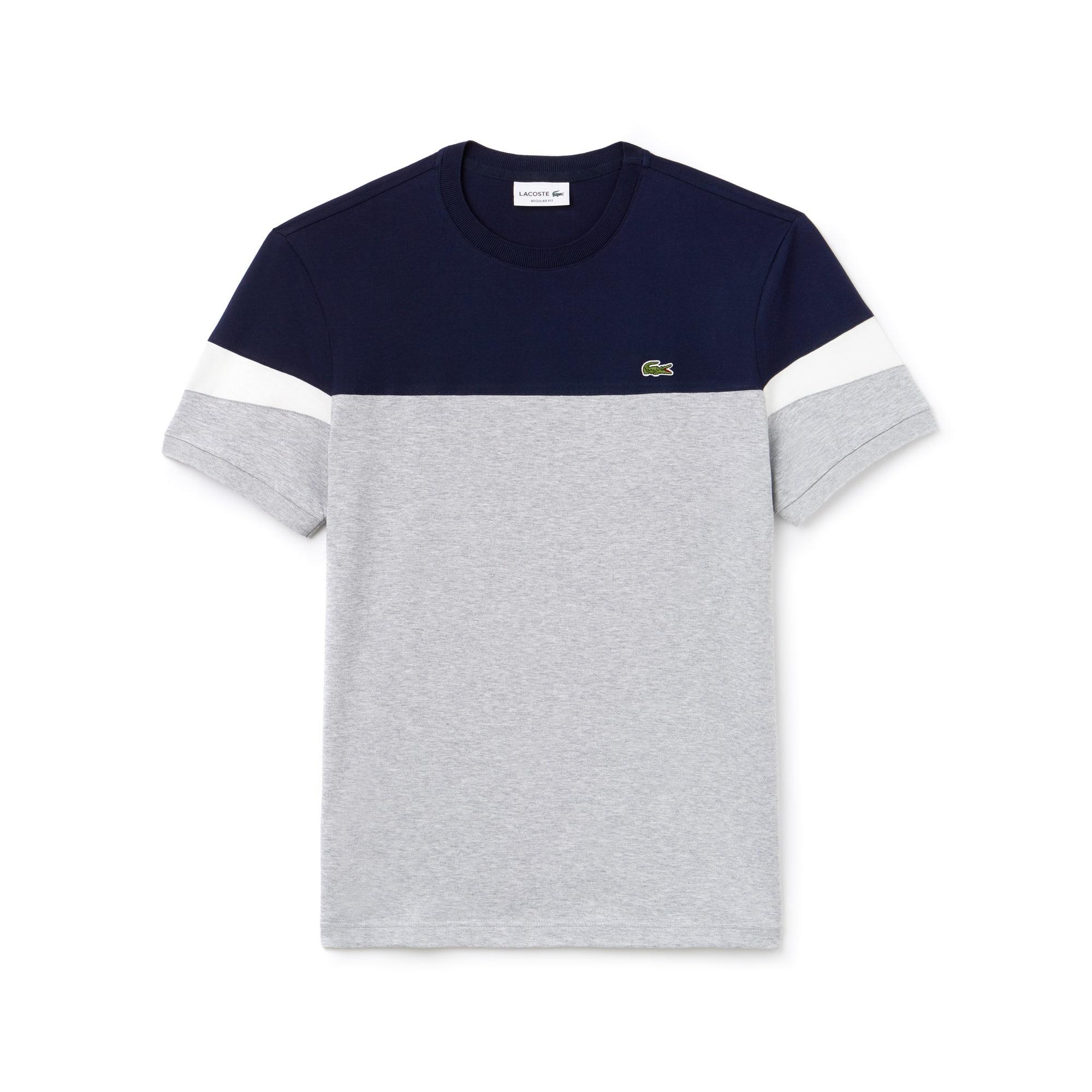 T-shirt a girocollo in morbido jersey color block