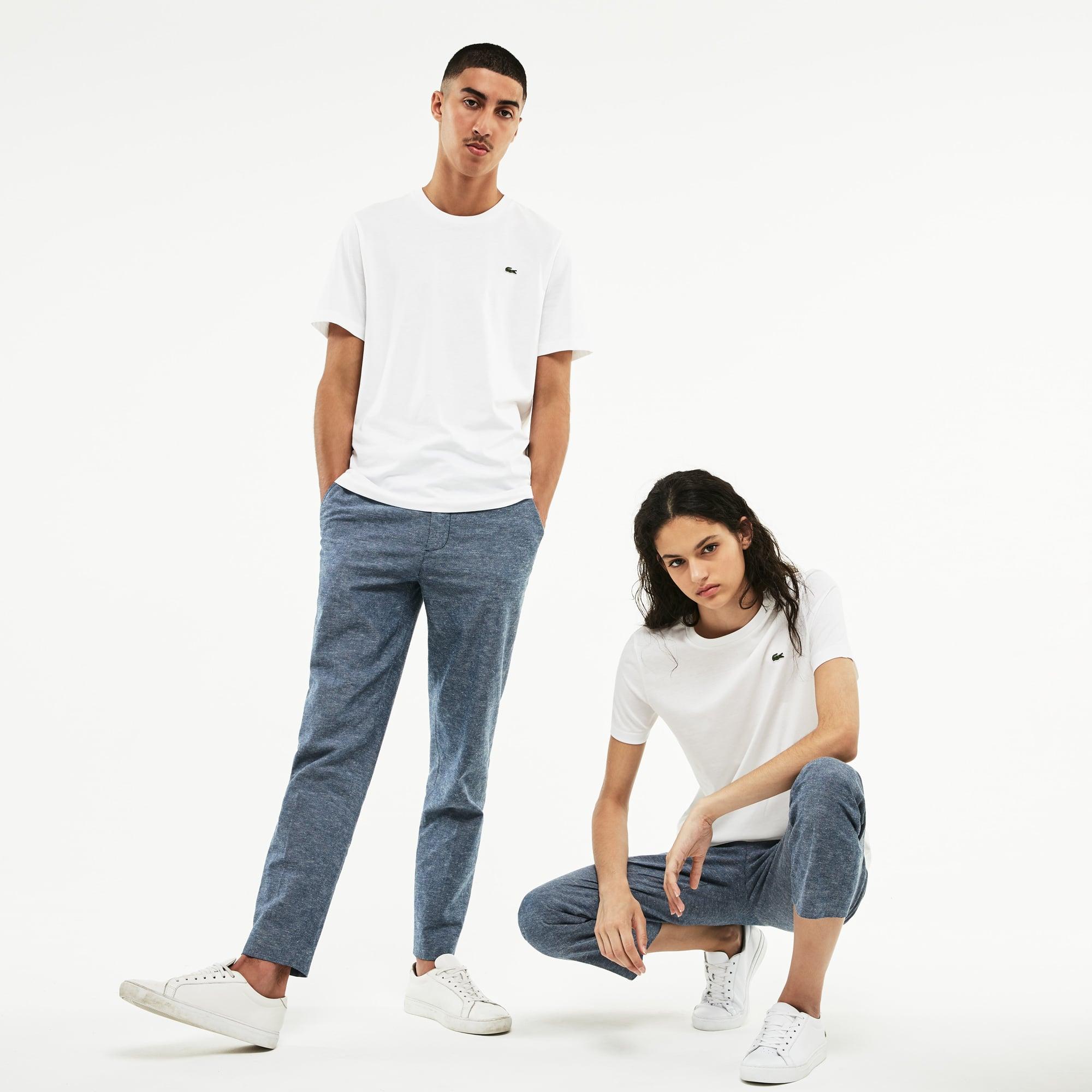 T-shirt unisex a girocollo Lacoste LIVE in jersey di cotone tinta unita