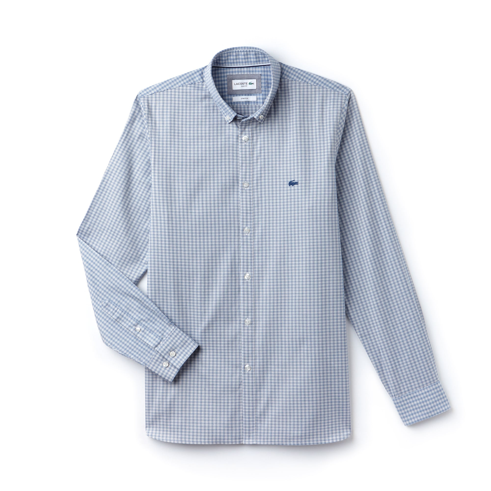 Camicia slim fit in cotone pinpoint stretch a quadretti