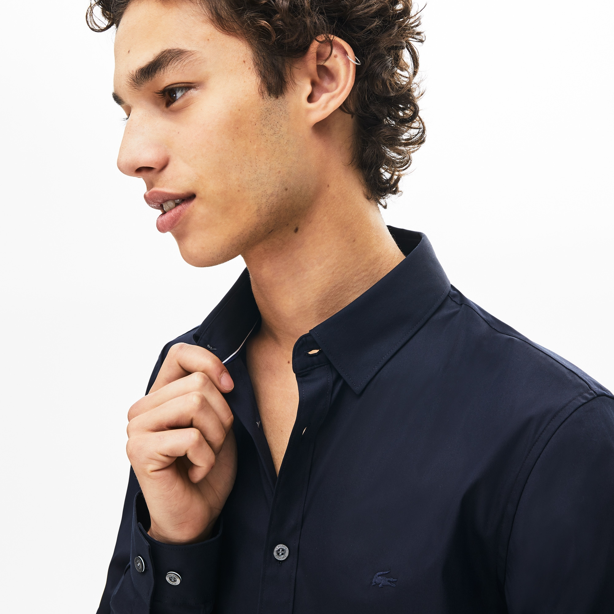 Camicia da uomo in popeline di cotone stretch slim fit