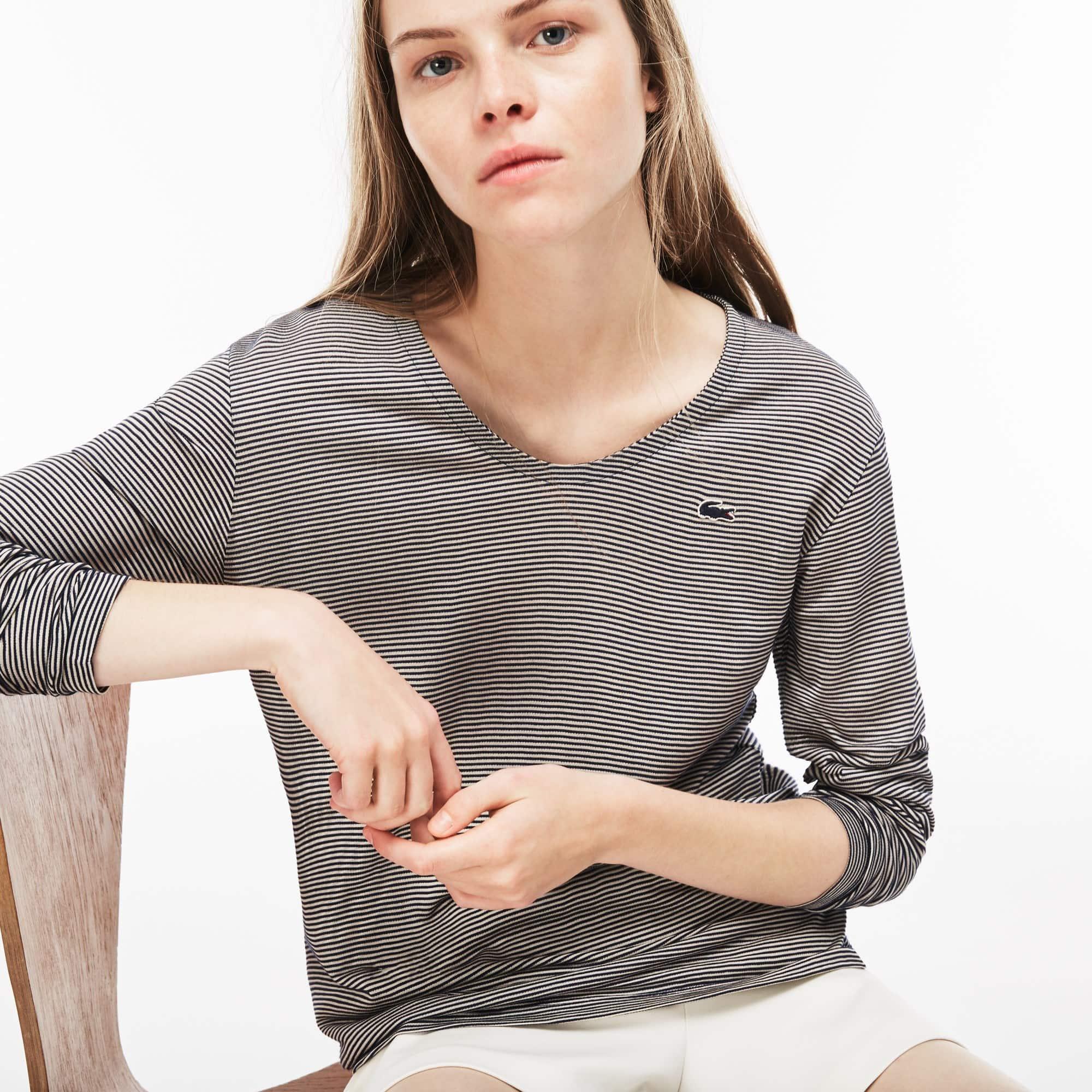 T-shirt con collo svasato a maniche lunghe in jersey Ottoman millerighe