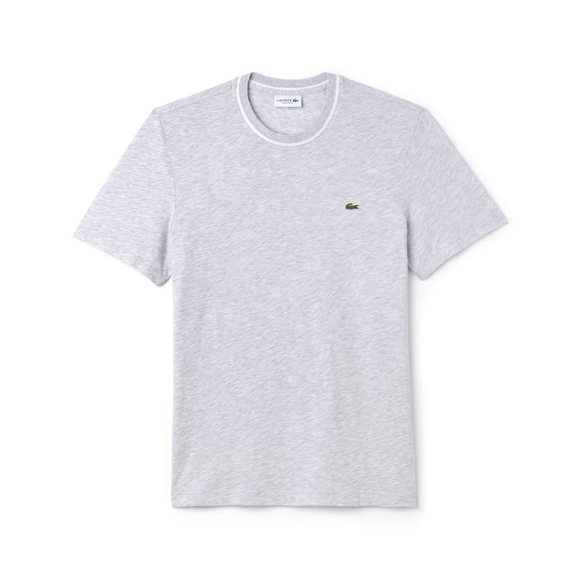 T-shirt a girocollo in jersey di cotone fiammato tinta unita