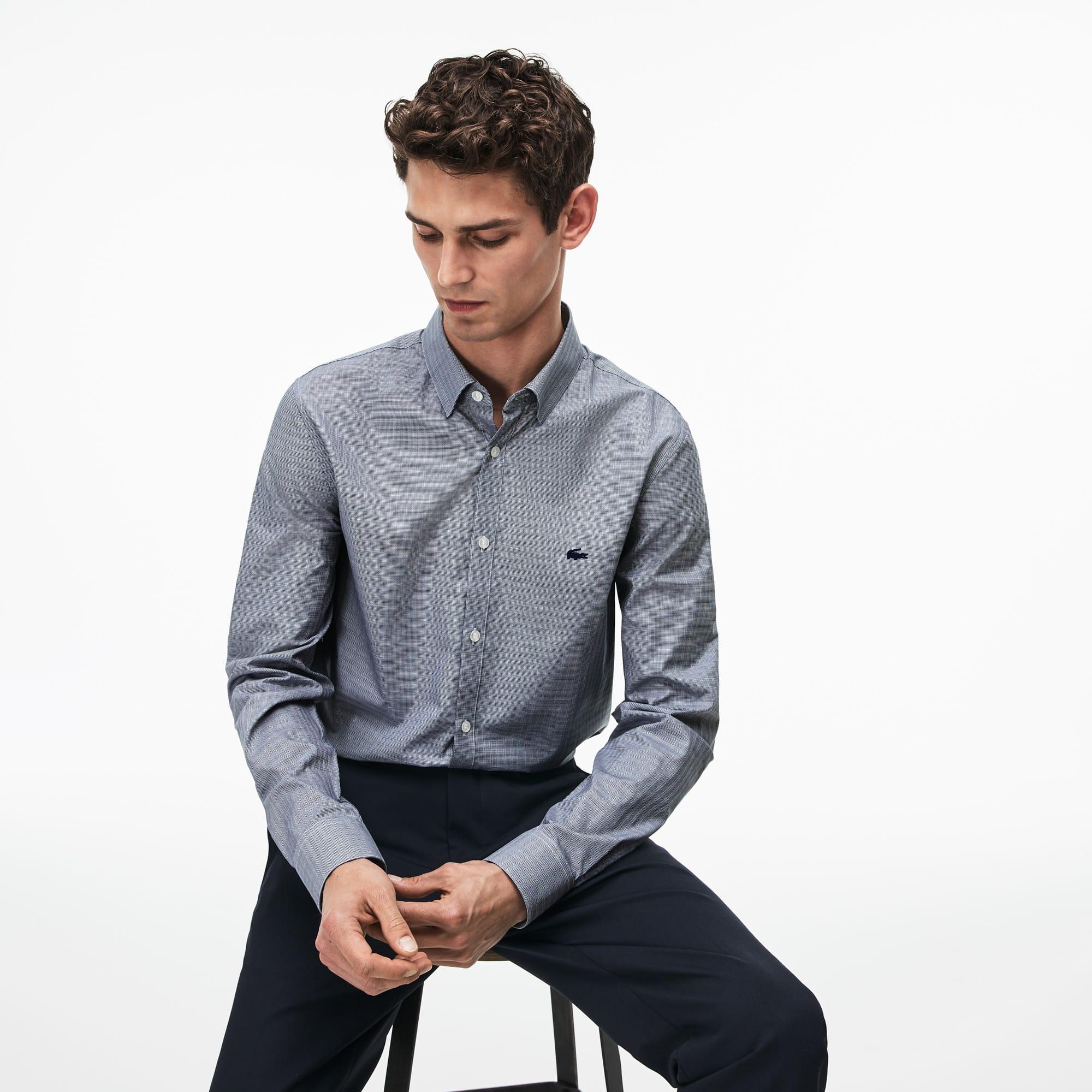 Camicia slim fit in popeline di cotone jacquard