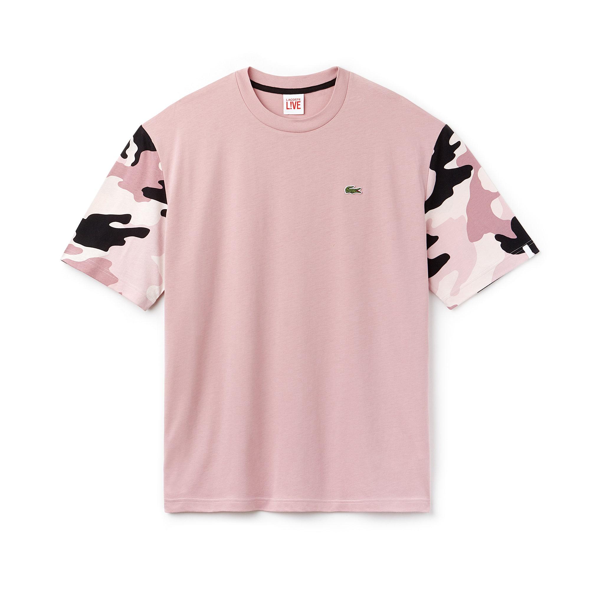T-shirt a girocollo Lacoste LIVE in jersey tinta unita con maniche stampate