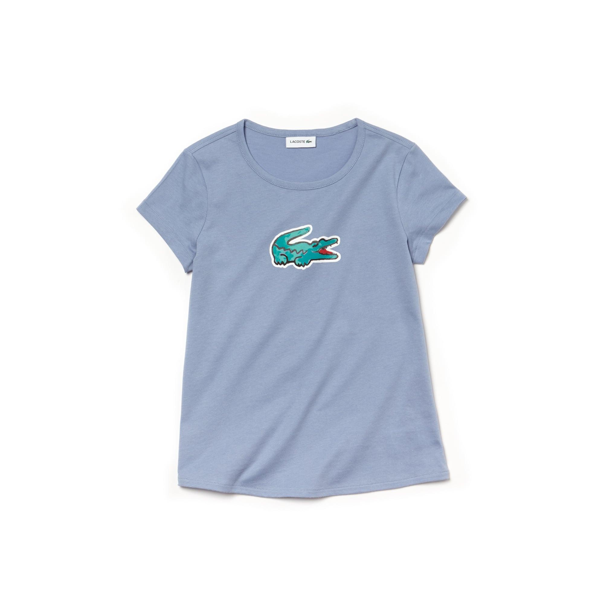T-shirt Bambina a girocollo in jersey con stampa del coccodrillo